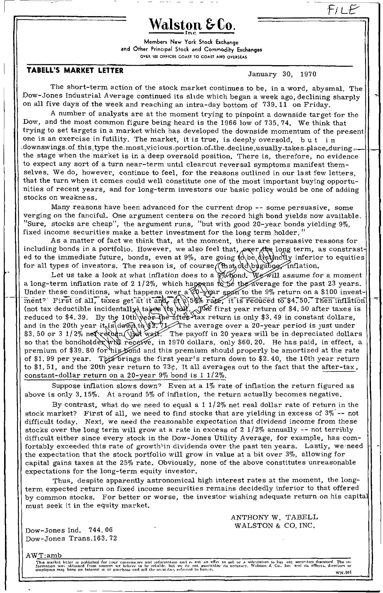 Tabell's Market Letter - January 30, 1970