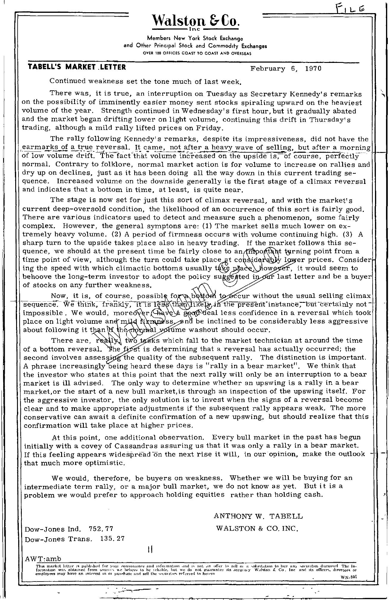 Tabell's Market Letter - February 06, 1970