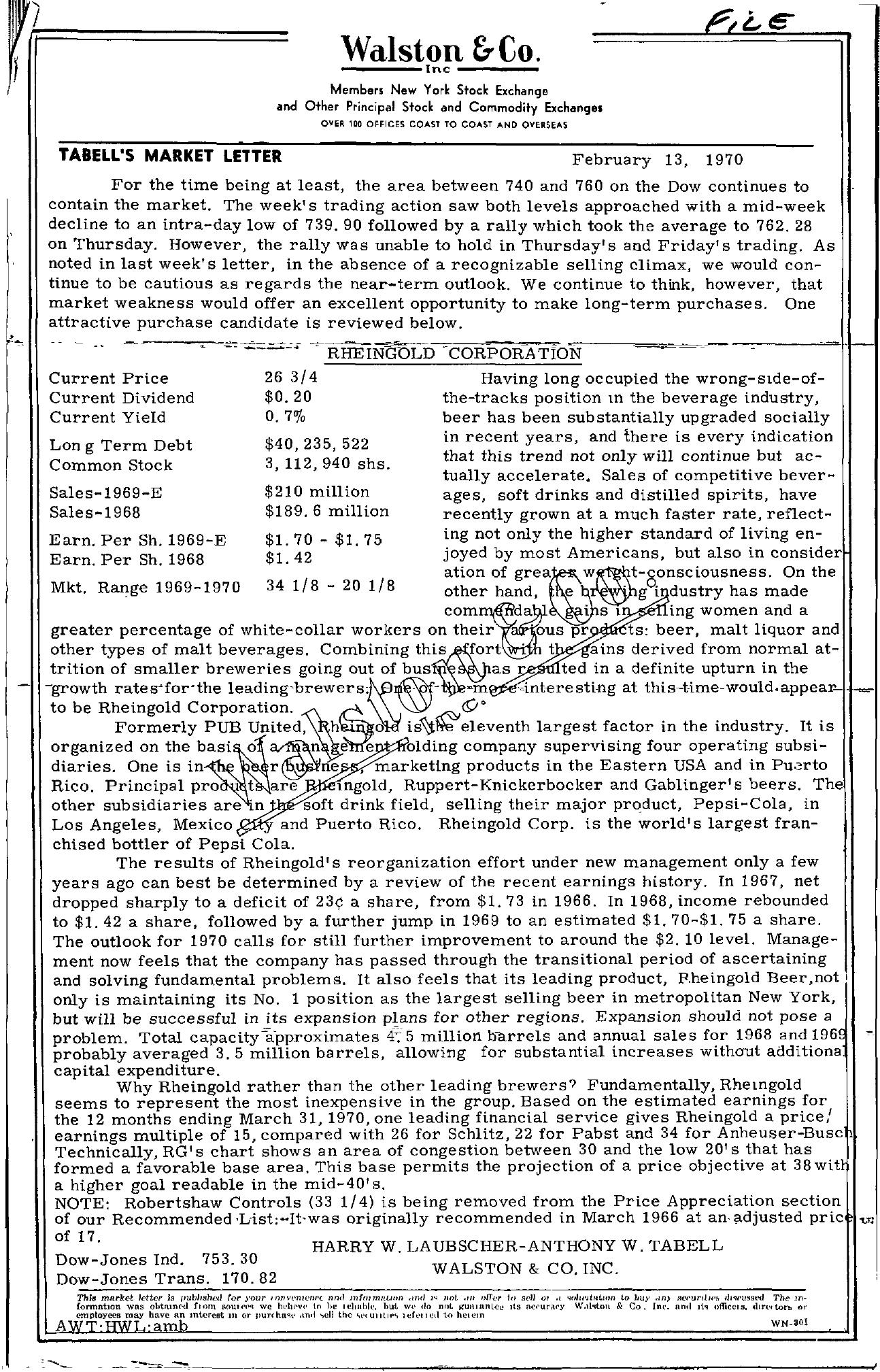Tabell's Market Letter - February 13, 1970