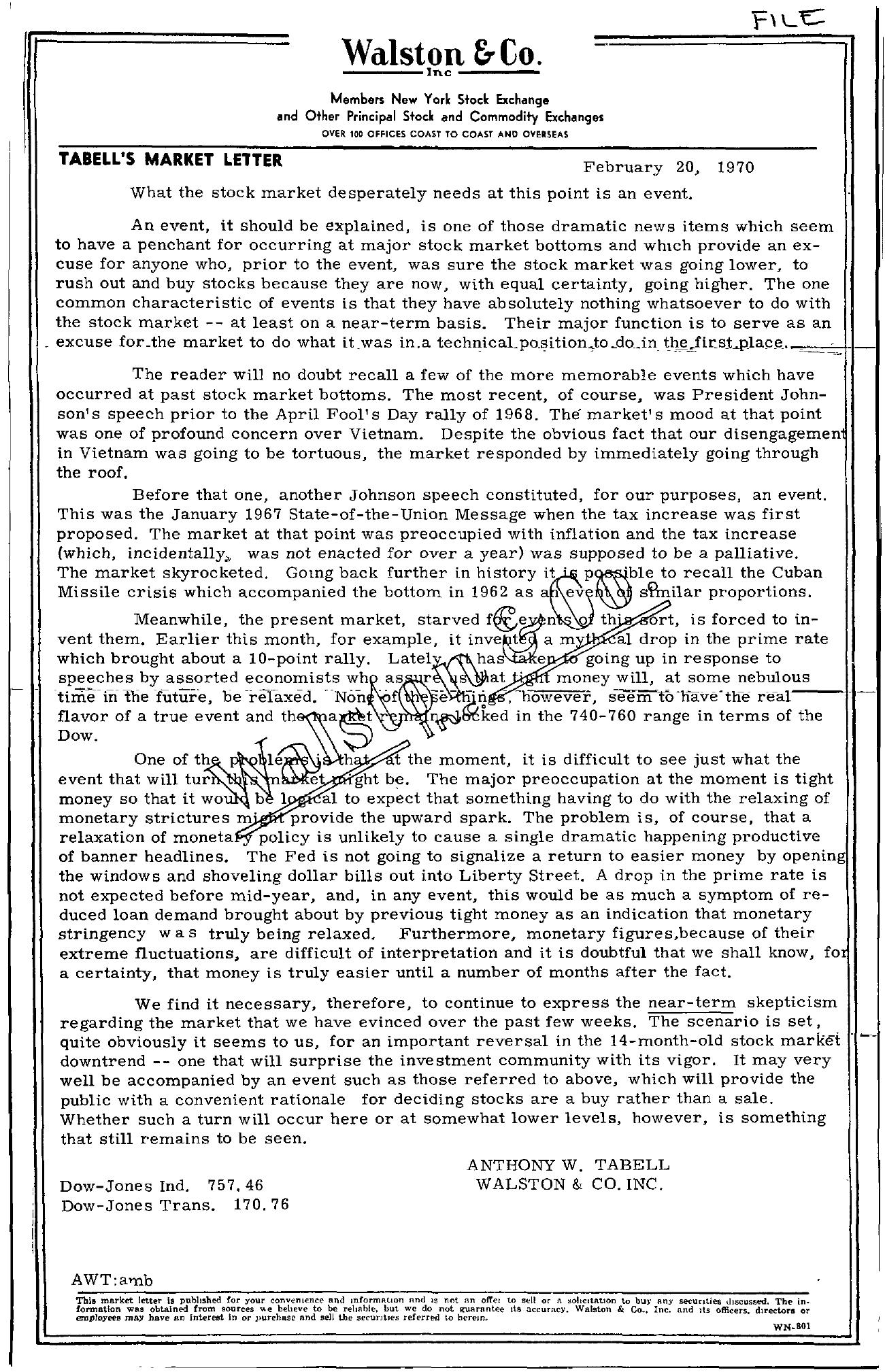Tabell's Market Letter - February 20, 1970
