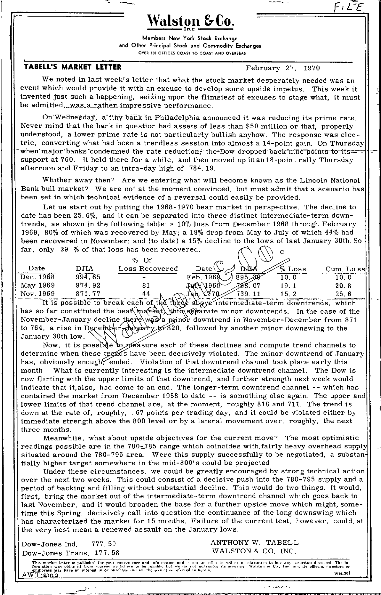 Tabell's Market Letter - February 27, 1970