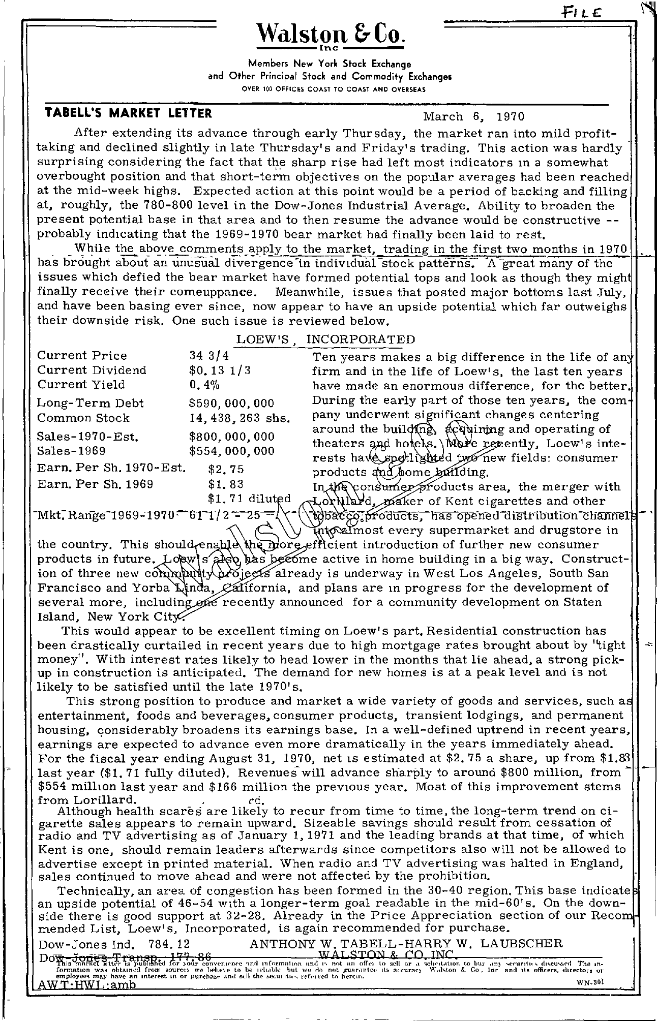 Tabell's Market Letter - March 06, 1970