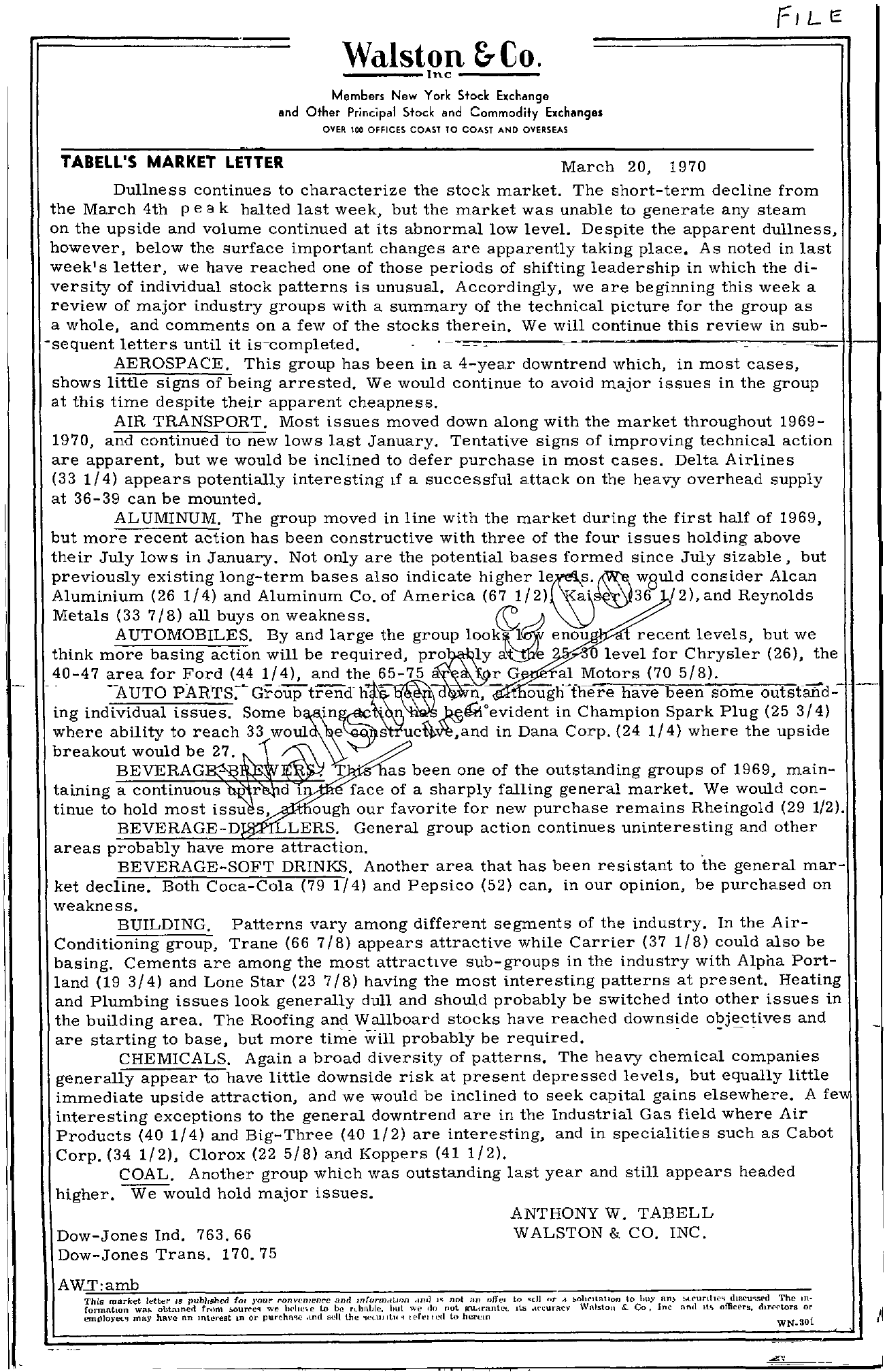 Tabell's Market Letter - March 20, 1970