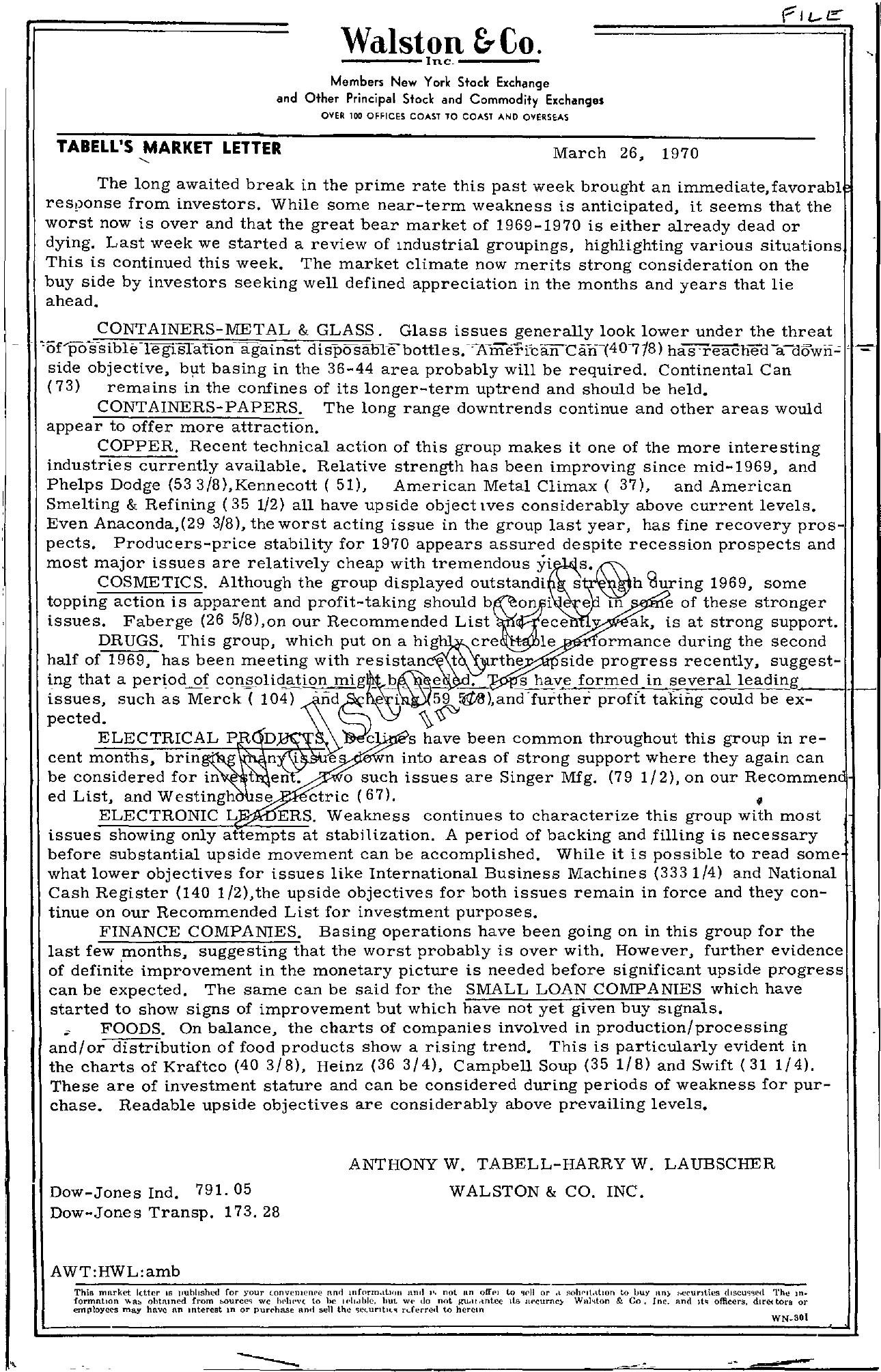 Tabell's Market Letter - March 26, 1970