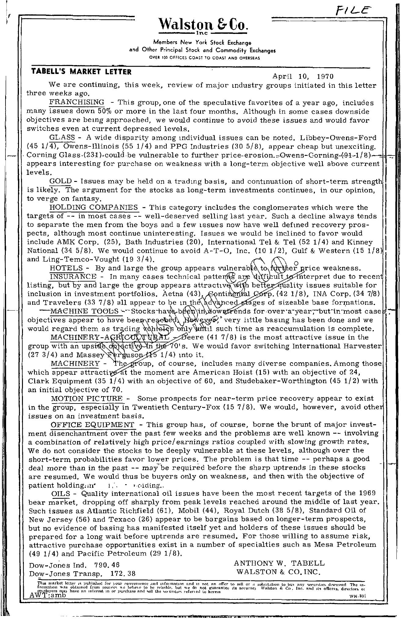 Tabell's Market Letter - April 10, 1970