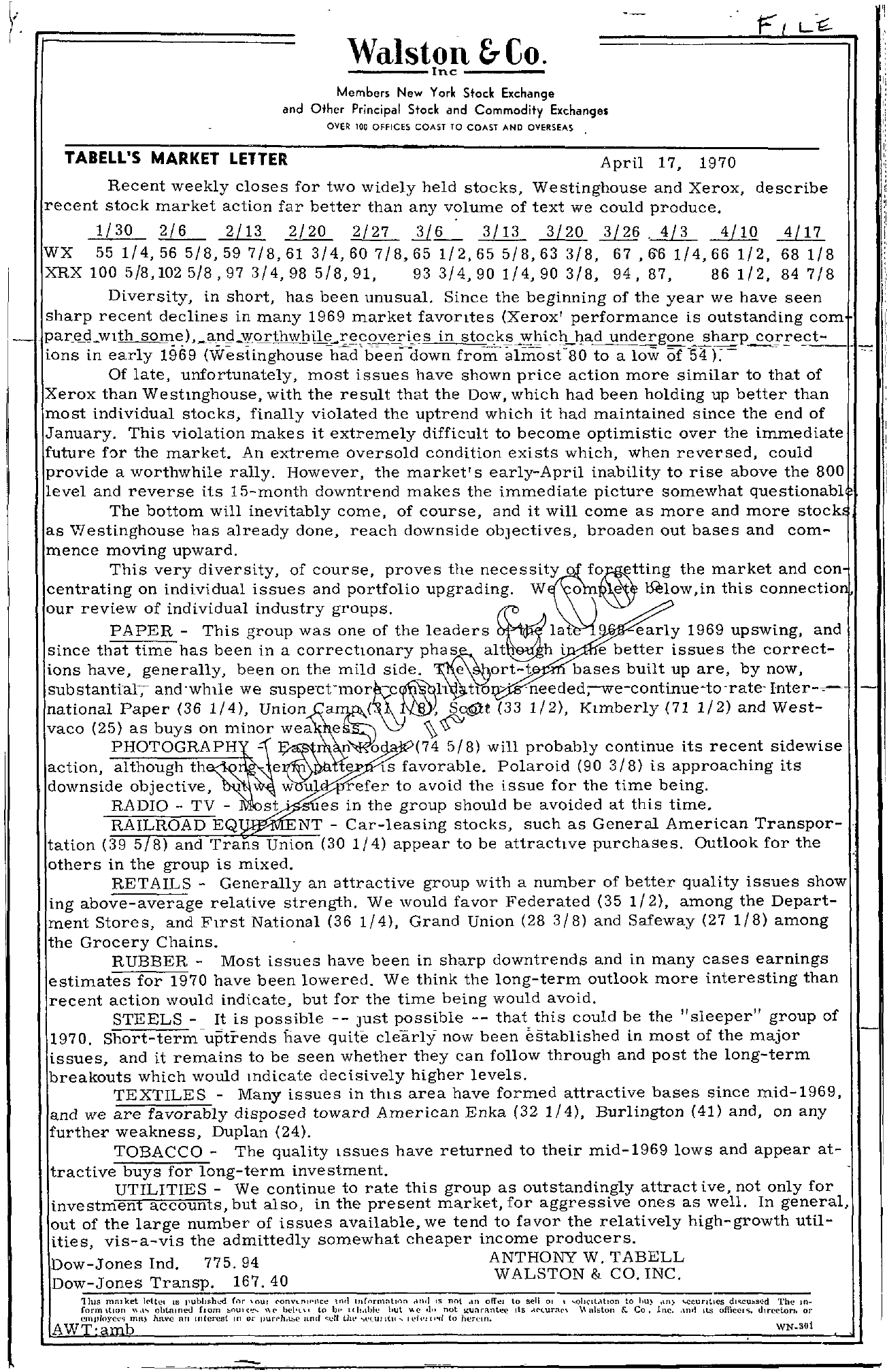 Tabell's Market Letter - April 17, 1970