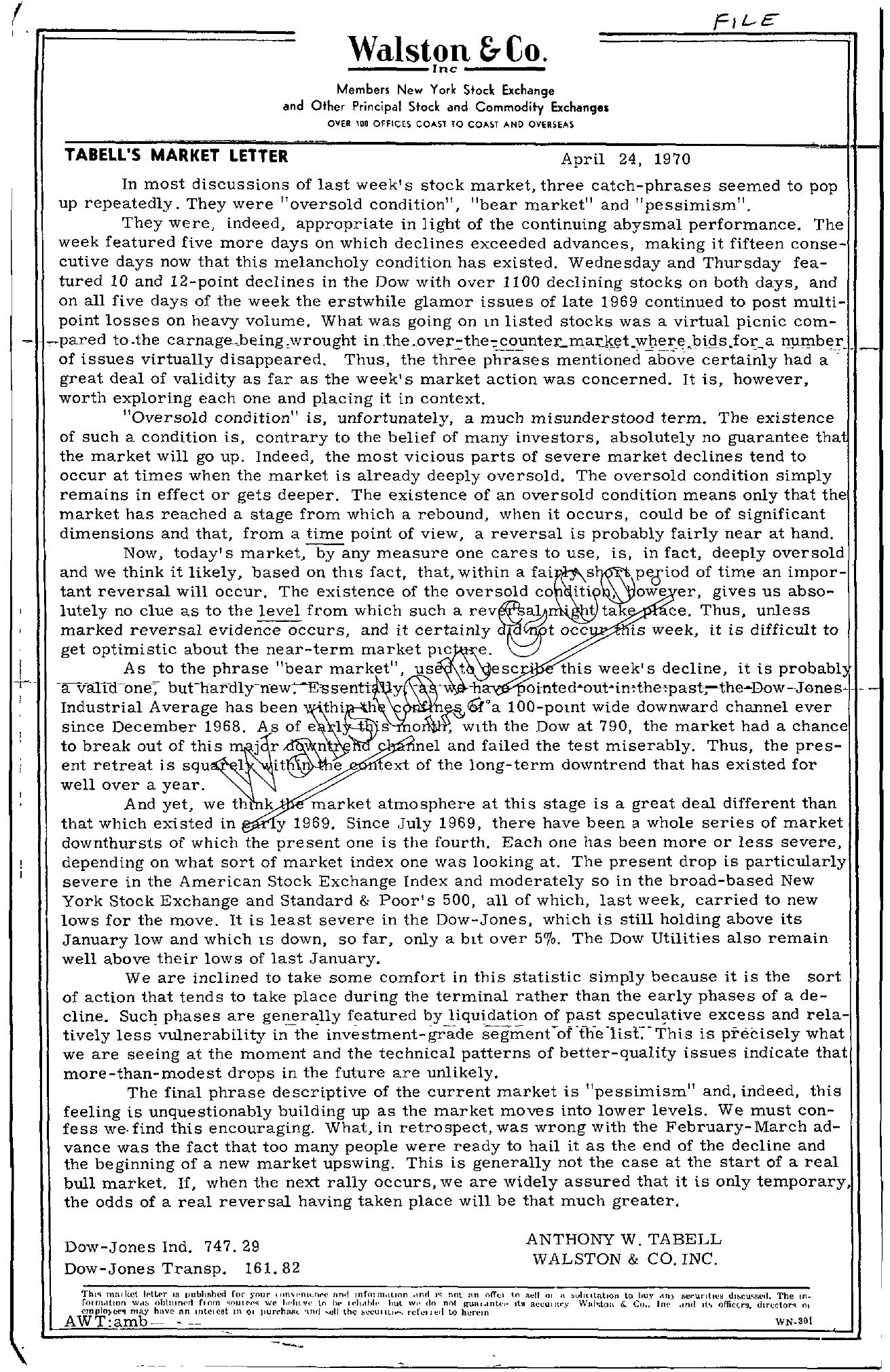 Tabell's Market Letter - April 24, 1970