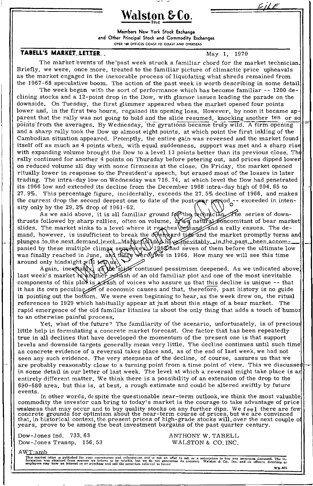 Tabell's Market Letter - May 01, 1970