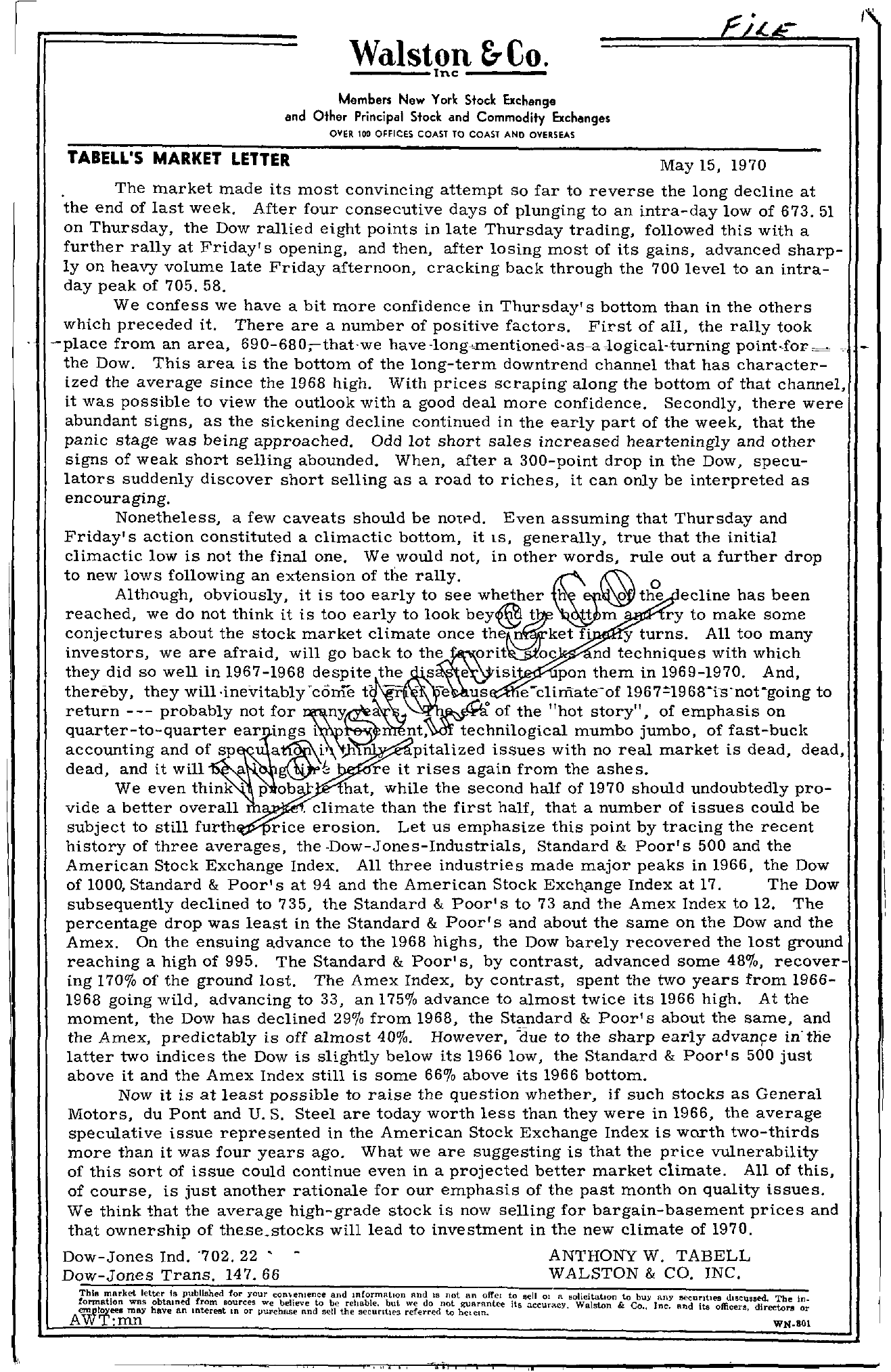 Tabell's Market Letter - May 15, 1970