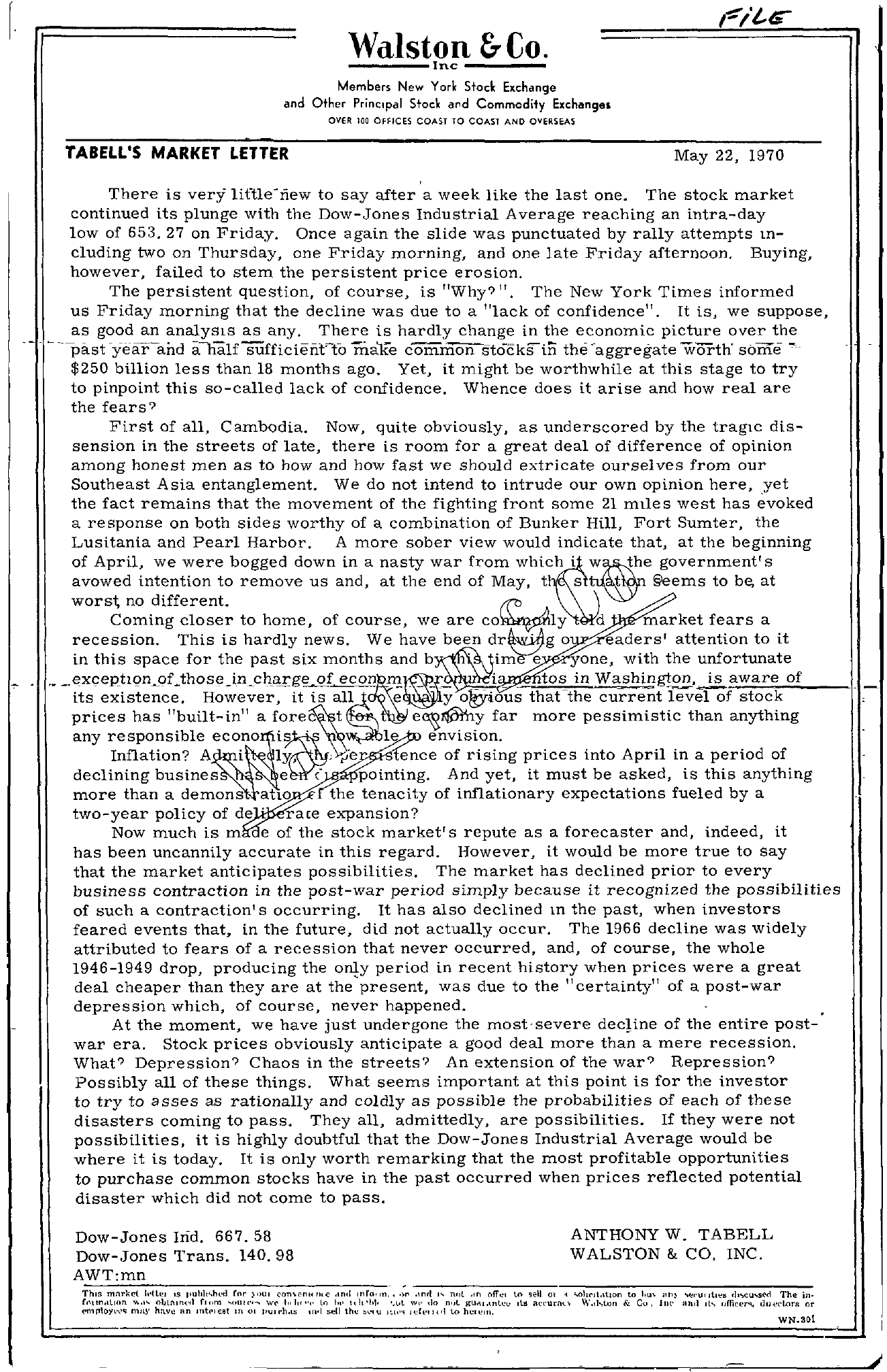 Tabell's Market Letter - May 22, 1970