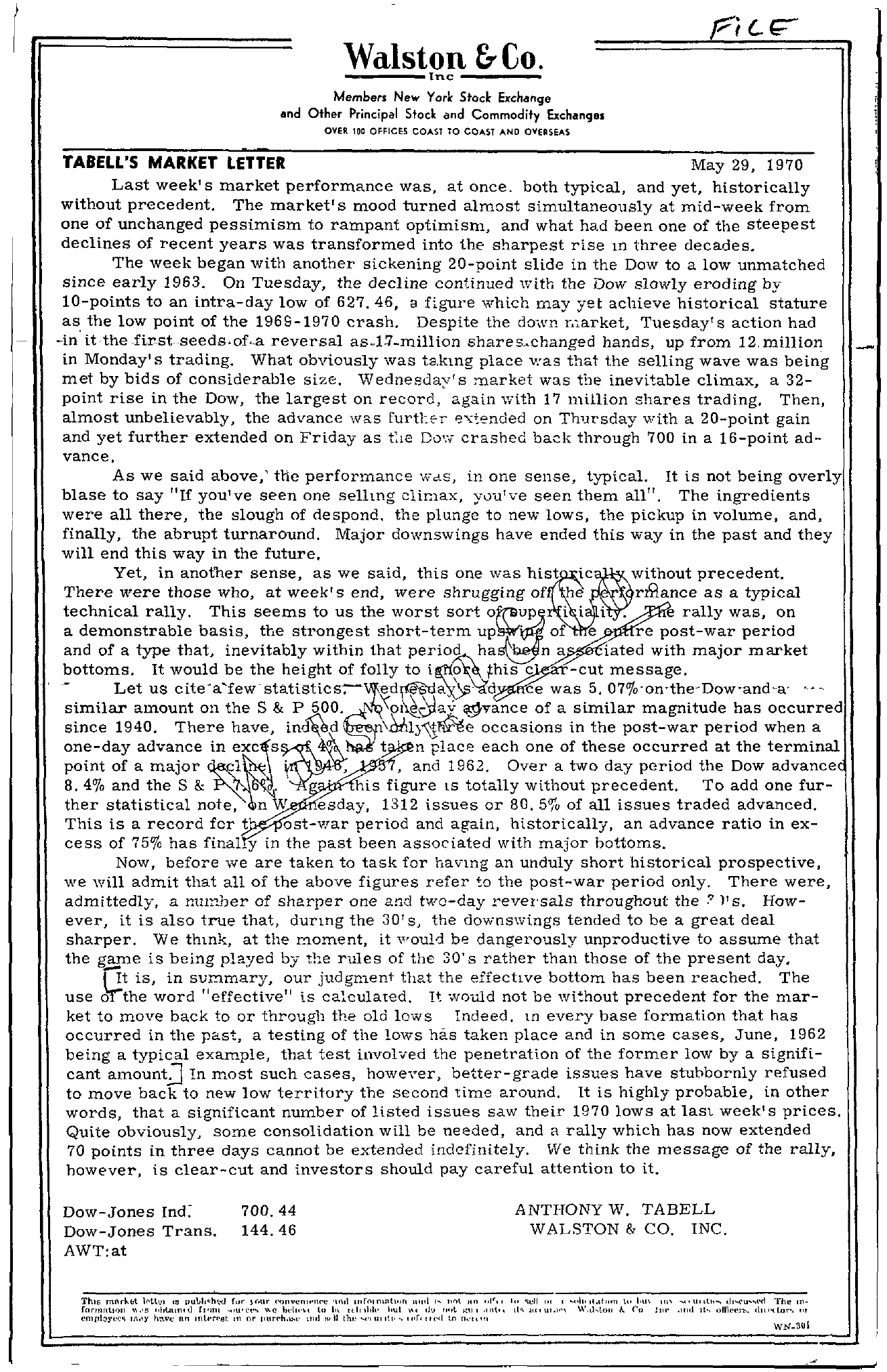Tabell's Market Letter - May 29, 1970