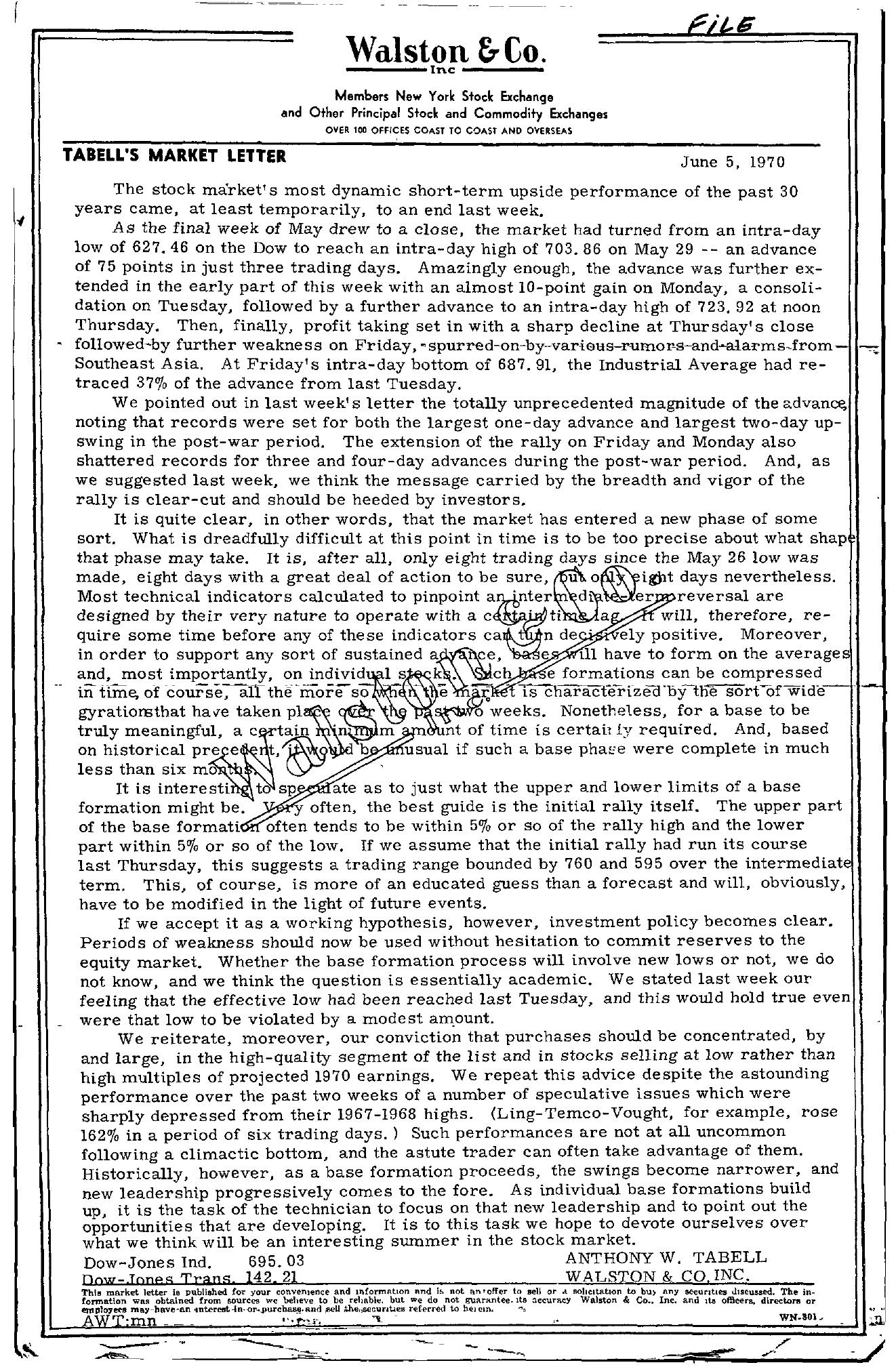 Tabell's Market Letter - June 05, 1970