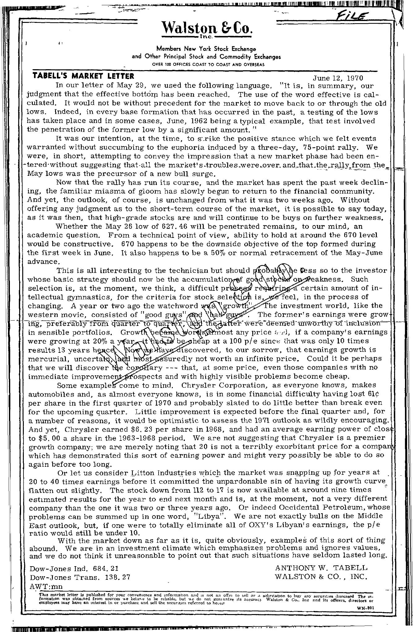Tabell's Market Letter - June 12, 1970