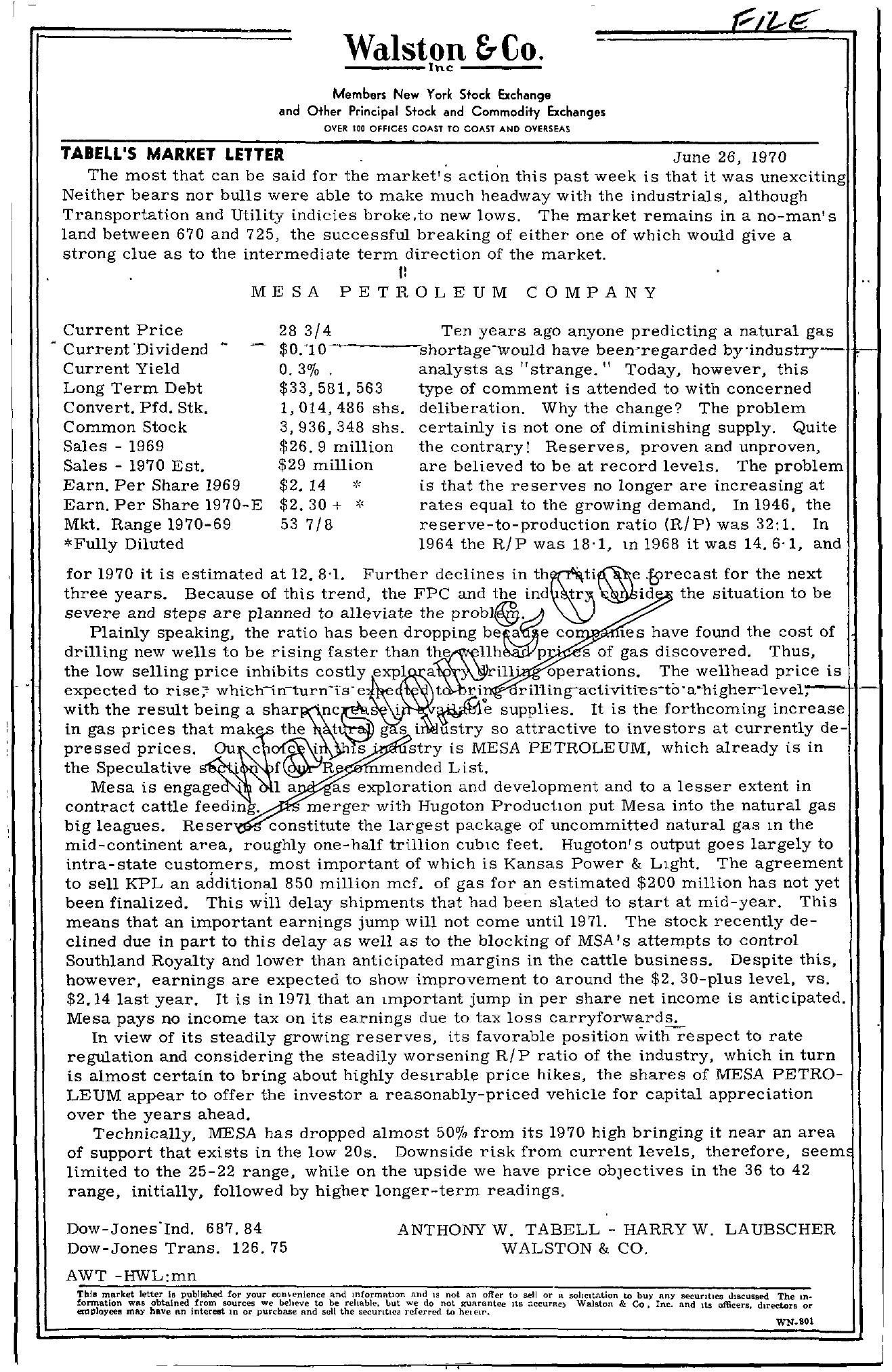 Tabell's Market Letter - June 26, 1970
