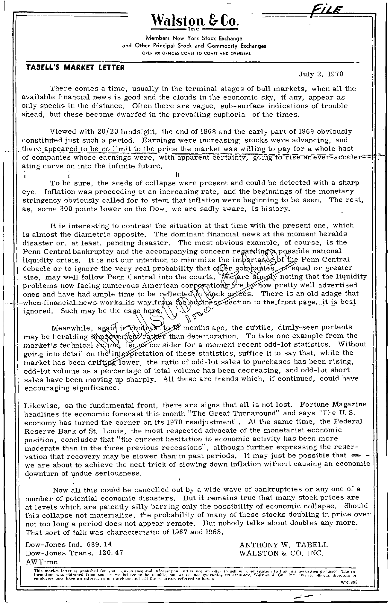 Tabell's Market Letter - July 02, 1970