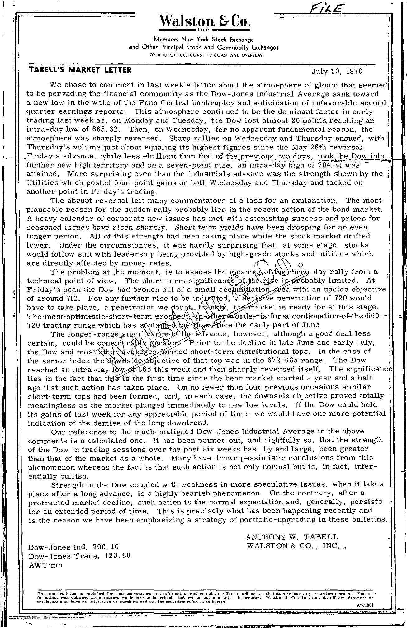 Tabell's Market Letter - July 10, 1970