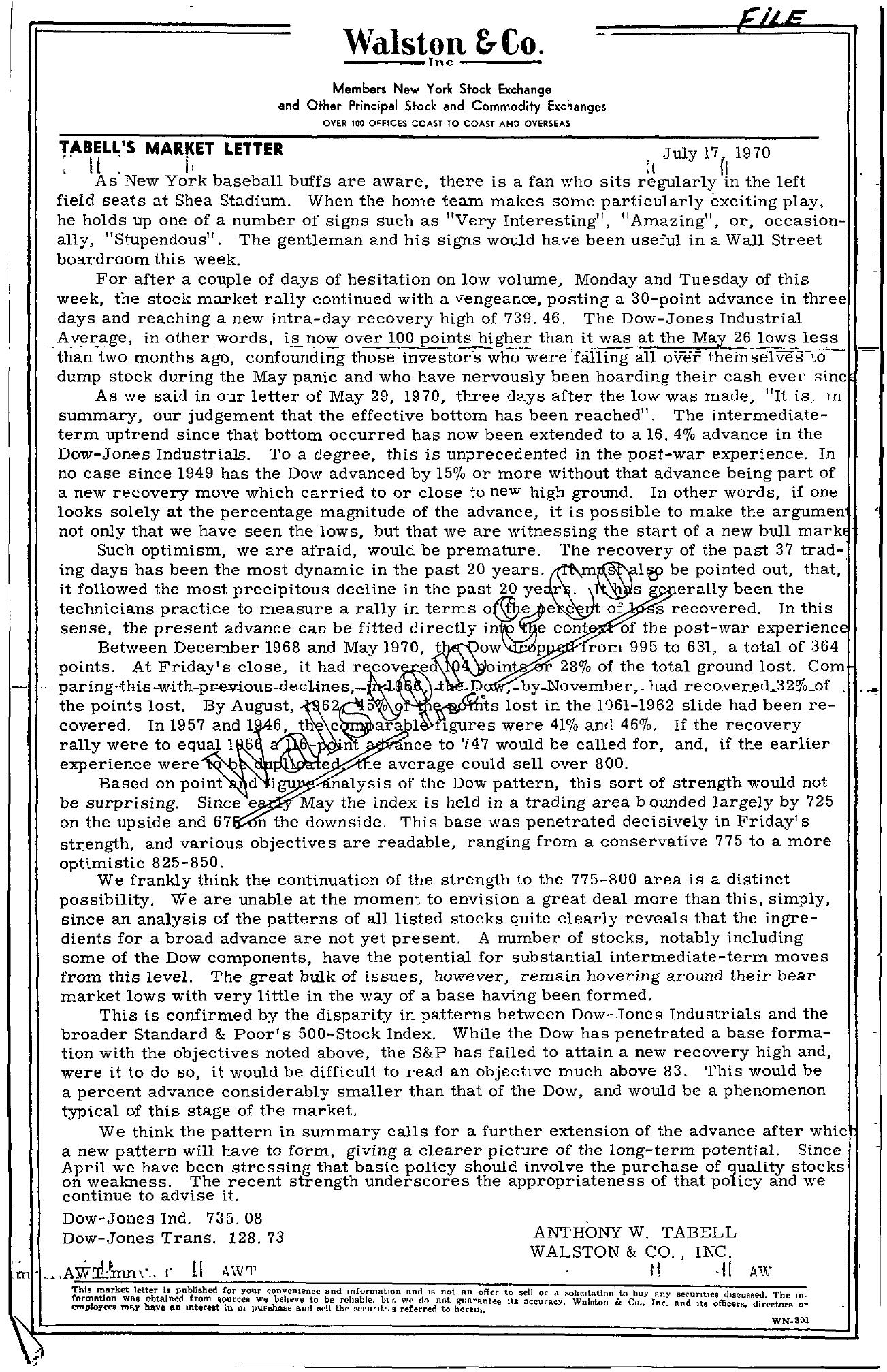 Tabell's Market Letter - July 17, 1970