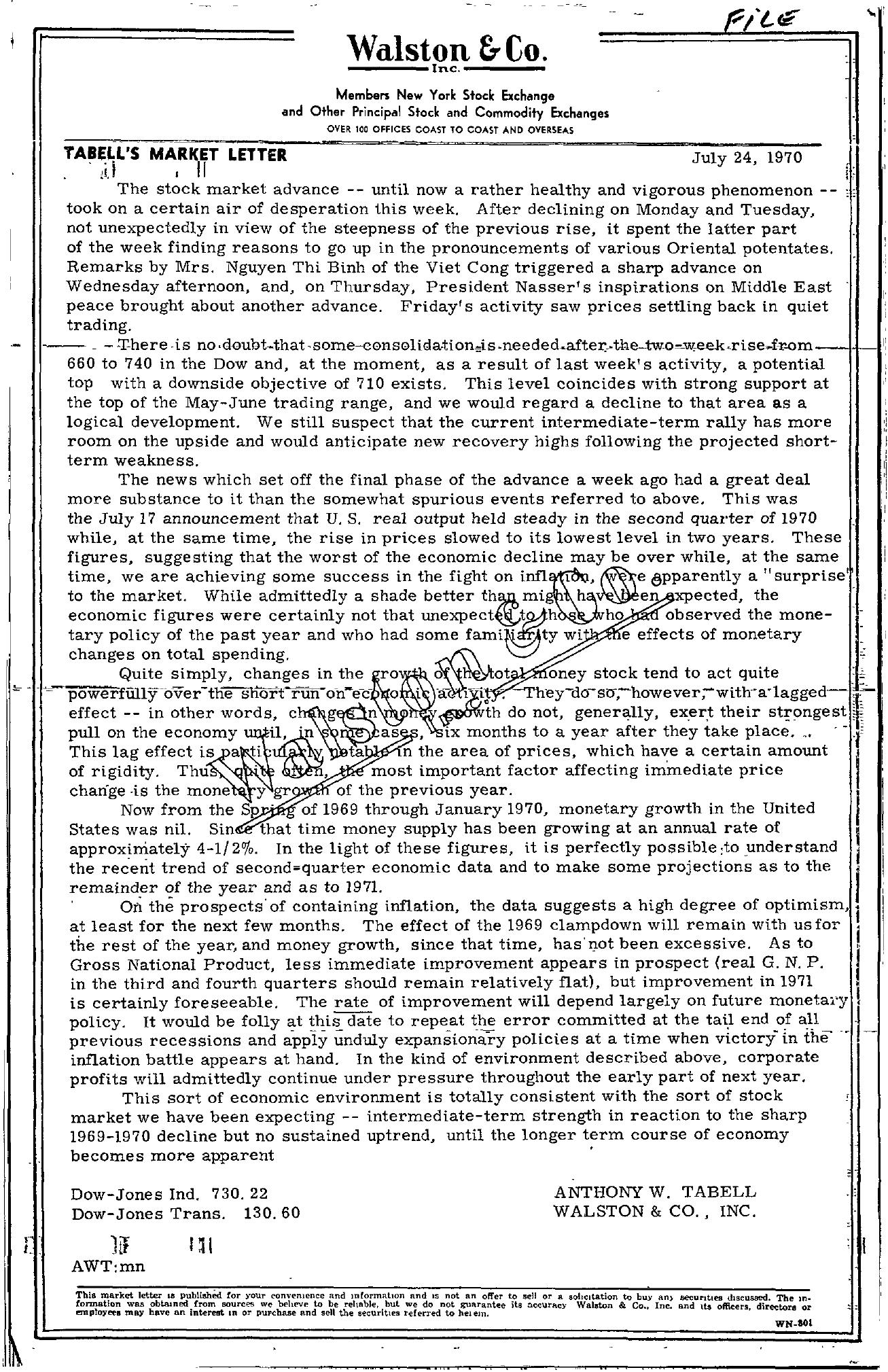 Tabell's Market Letter - July 24, 1970