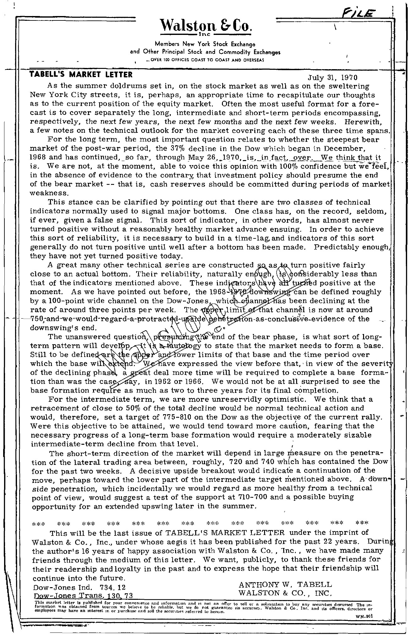 Tabell's Market Letter - July 31, 1970