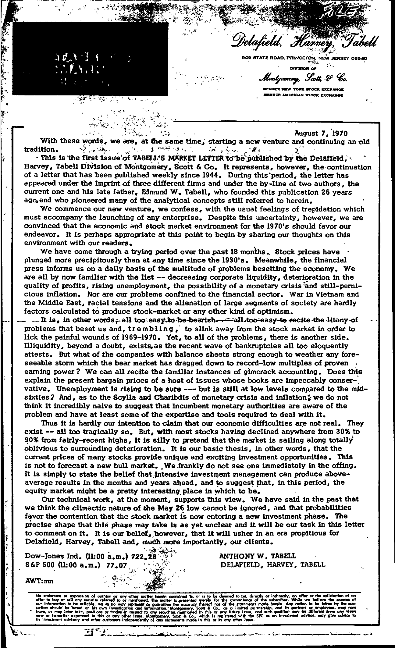 Tabell's Market Letter - August 07, 1970