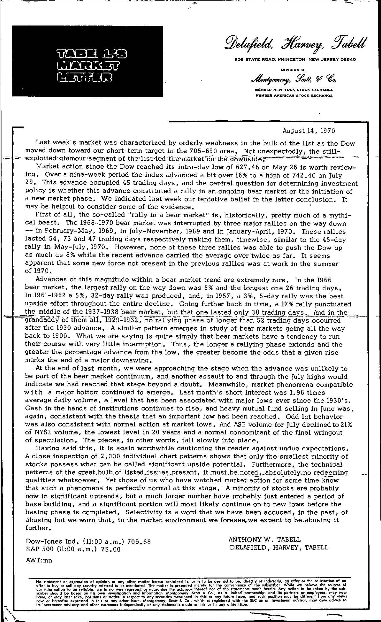 Tabell's Market Letter - August 14, 1970