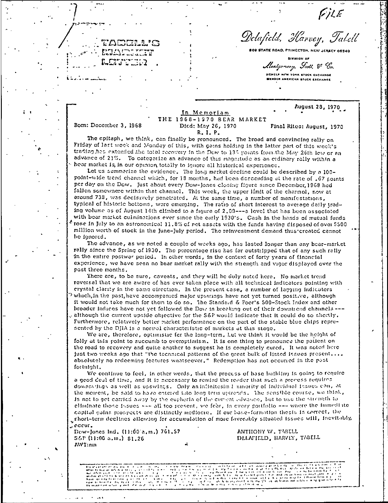 Tabell's Market Letter - August 28, 1970