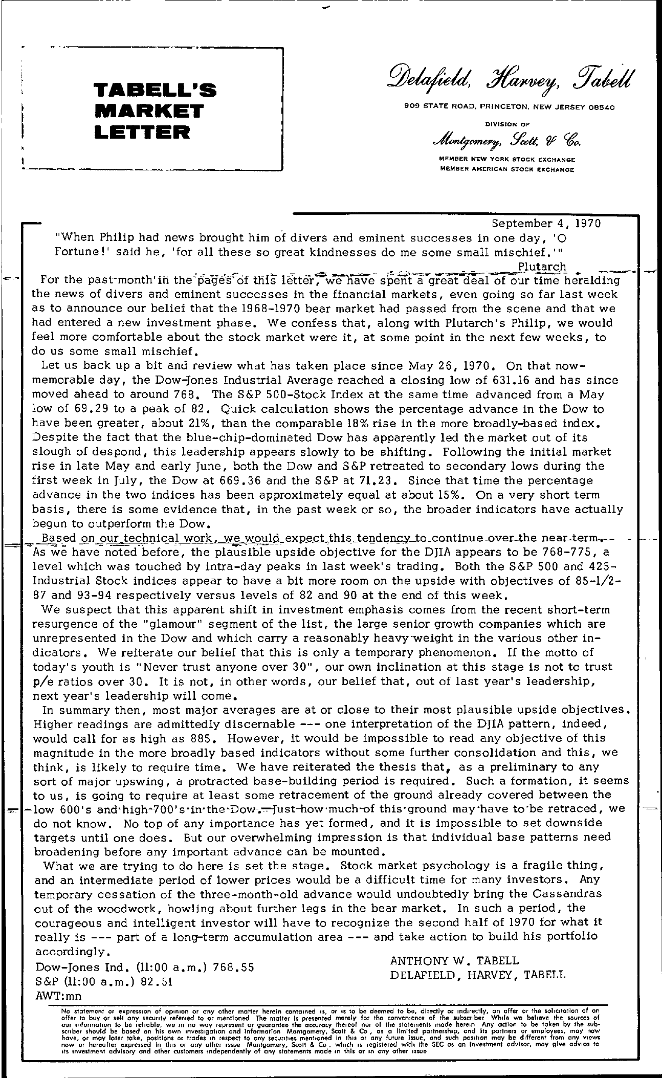 Tabell's Market Letter - September 04, 1970