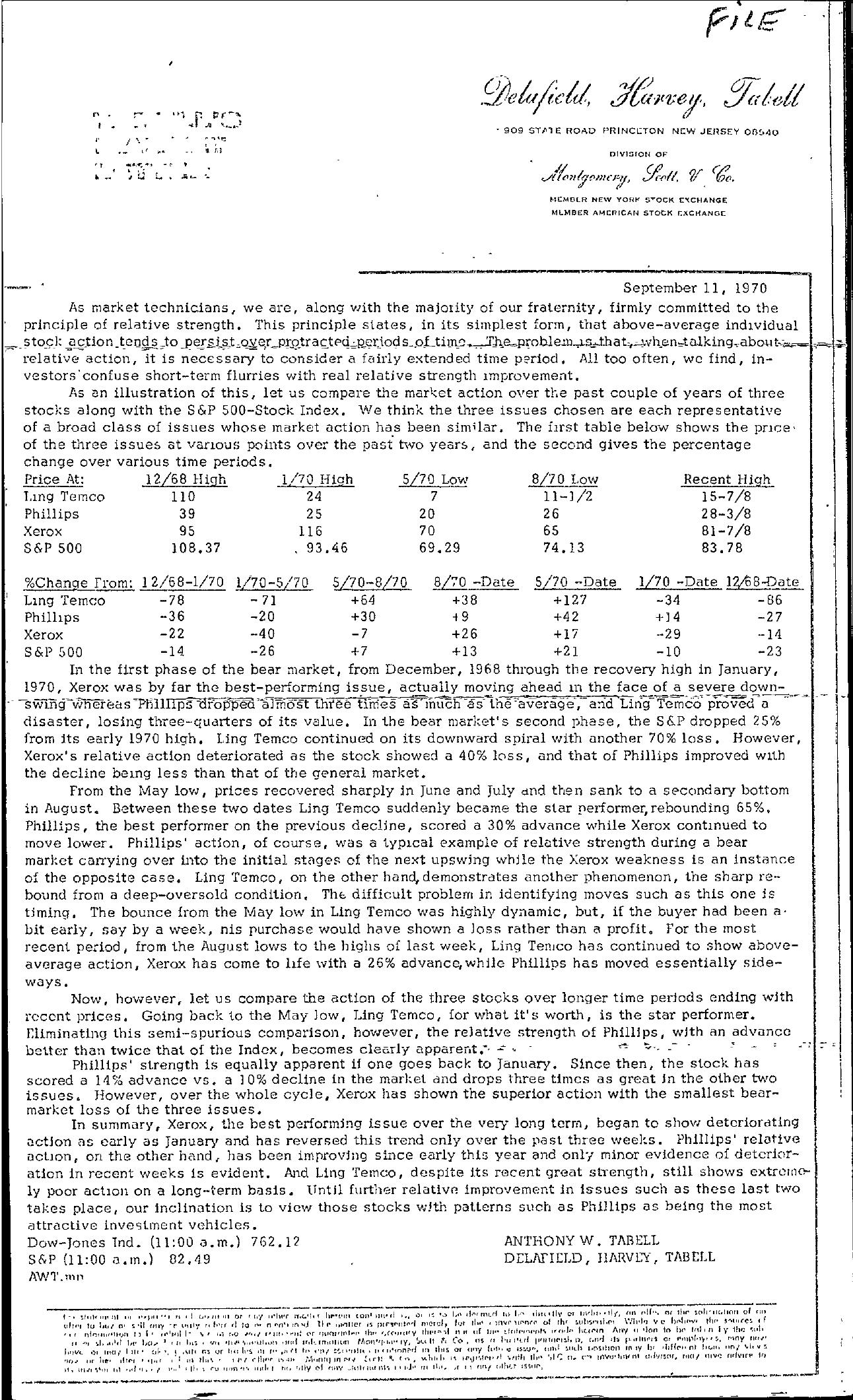 Tabell's Market Letter - September 11, 1970