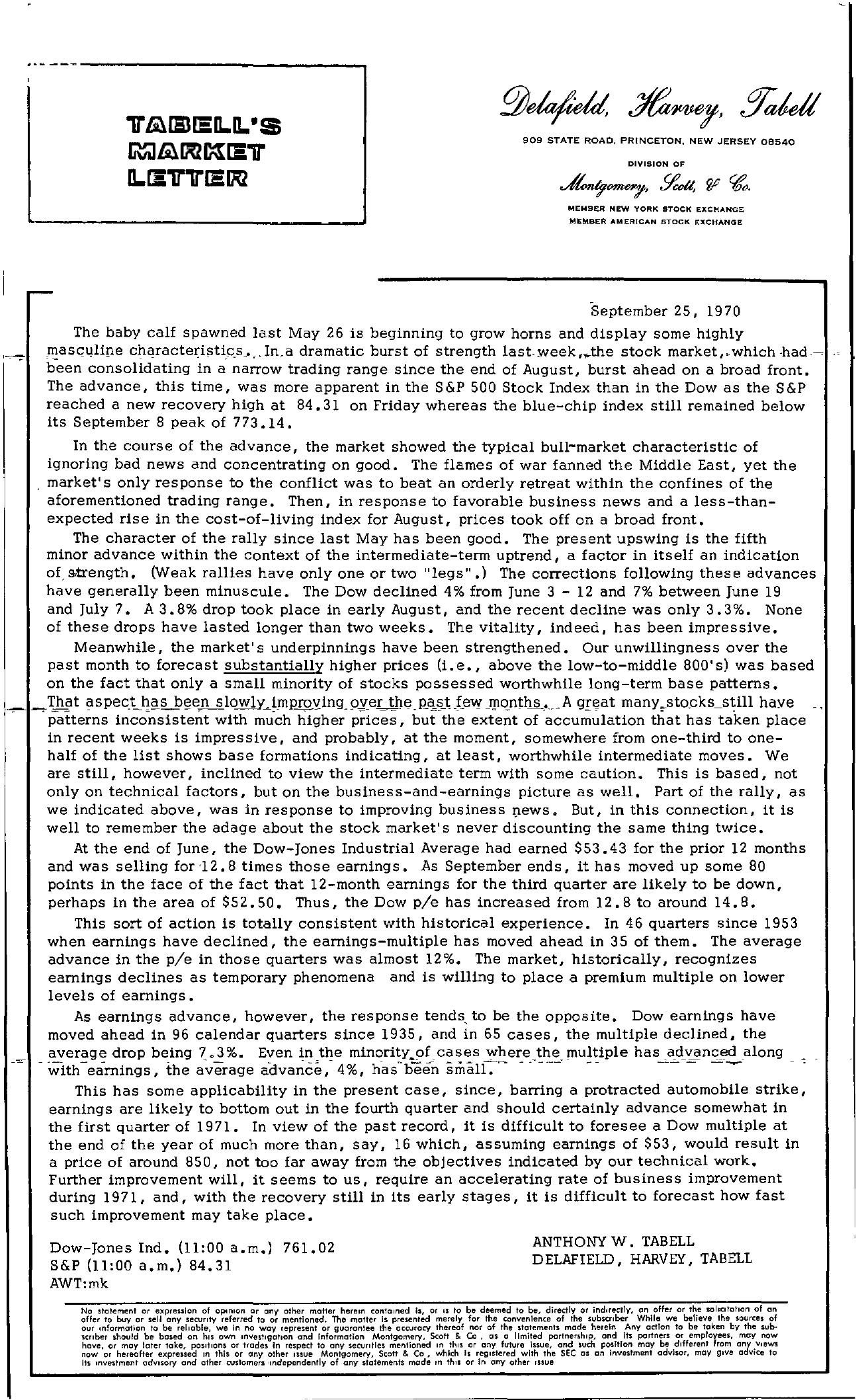 Tabell's Market Letter - September 25, 1970