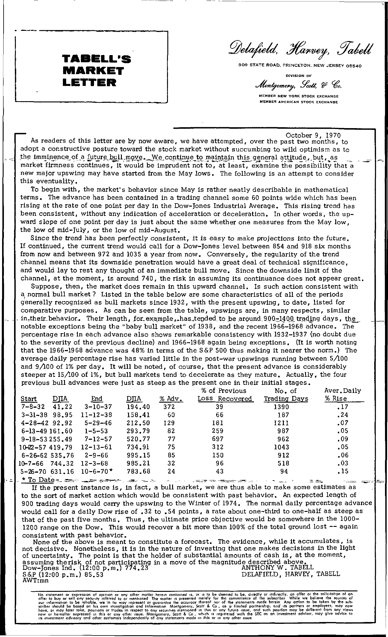 Tabell's Market Letter - October 09, 1970