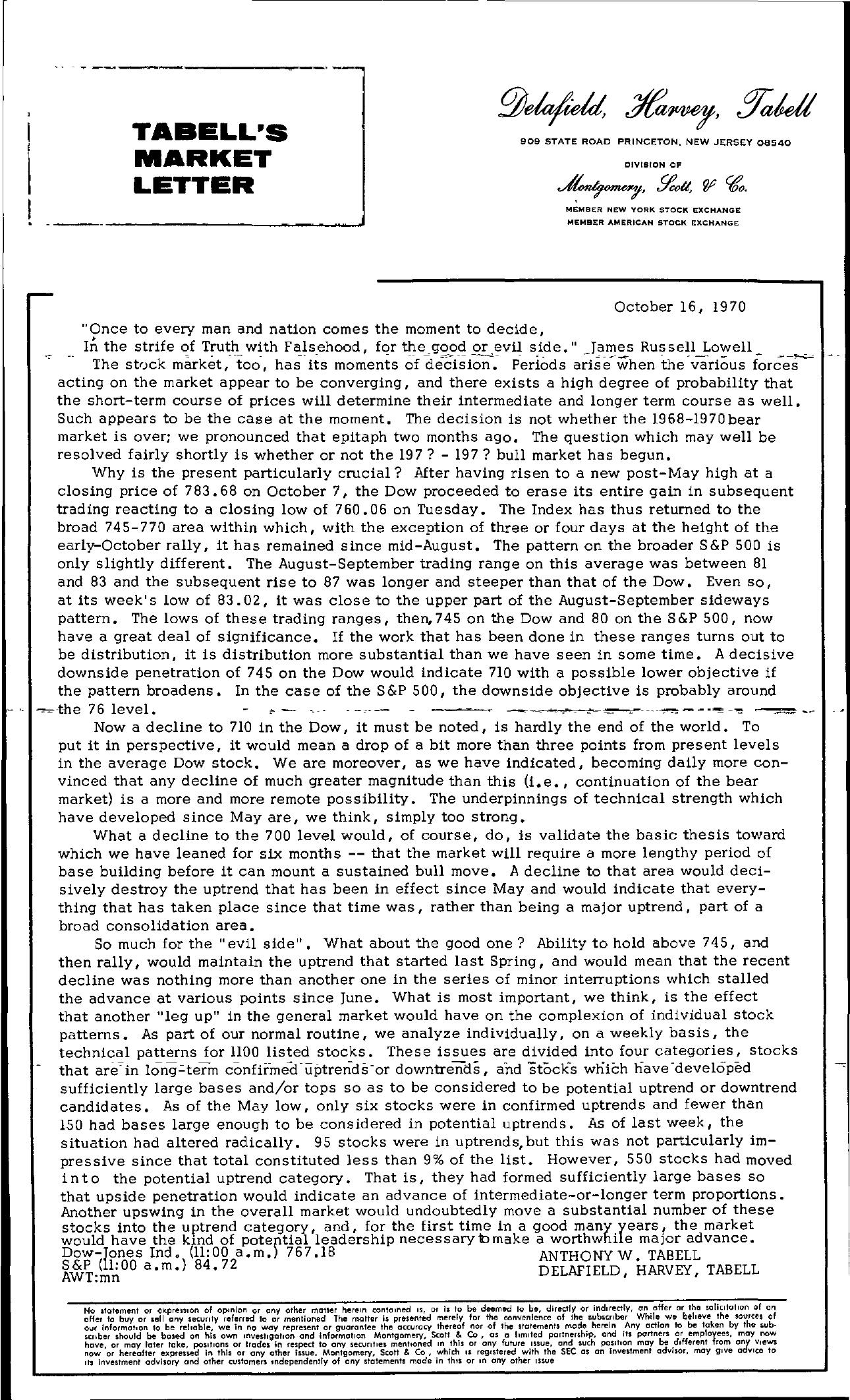 Tabell's Market Letter - October 16, 1970