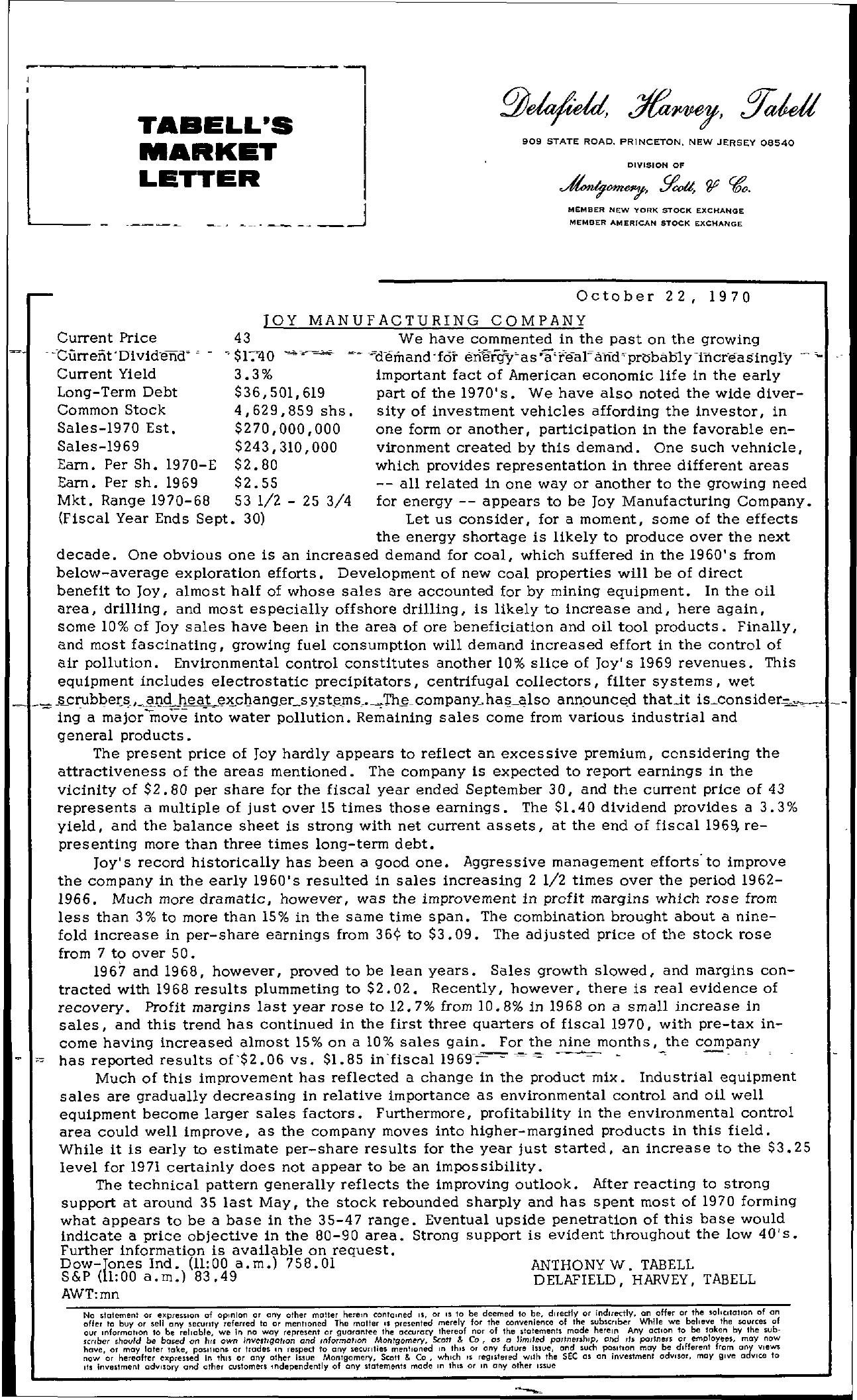Tabell's Market Letter - October 22, 1970
