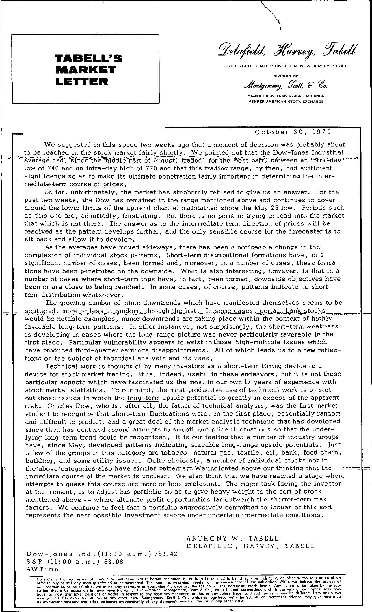 Tabell's Market Letter - October 30, 1970