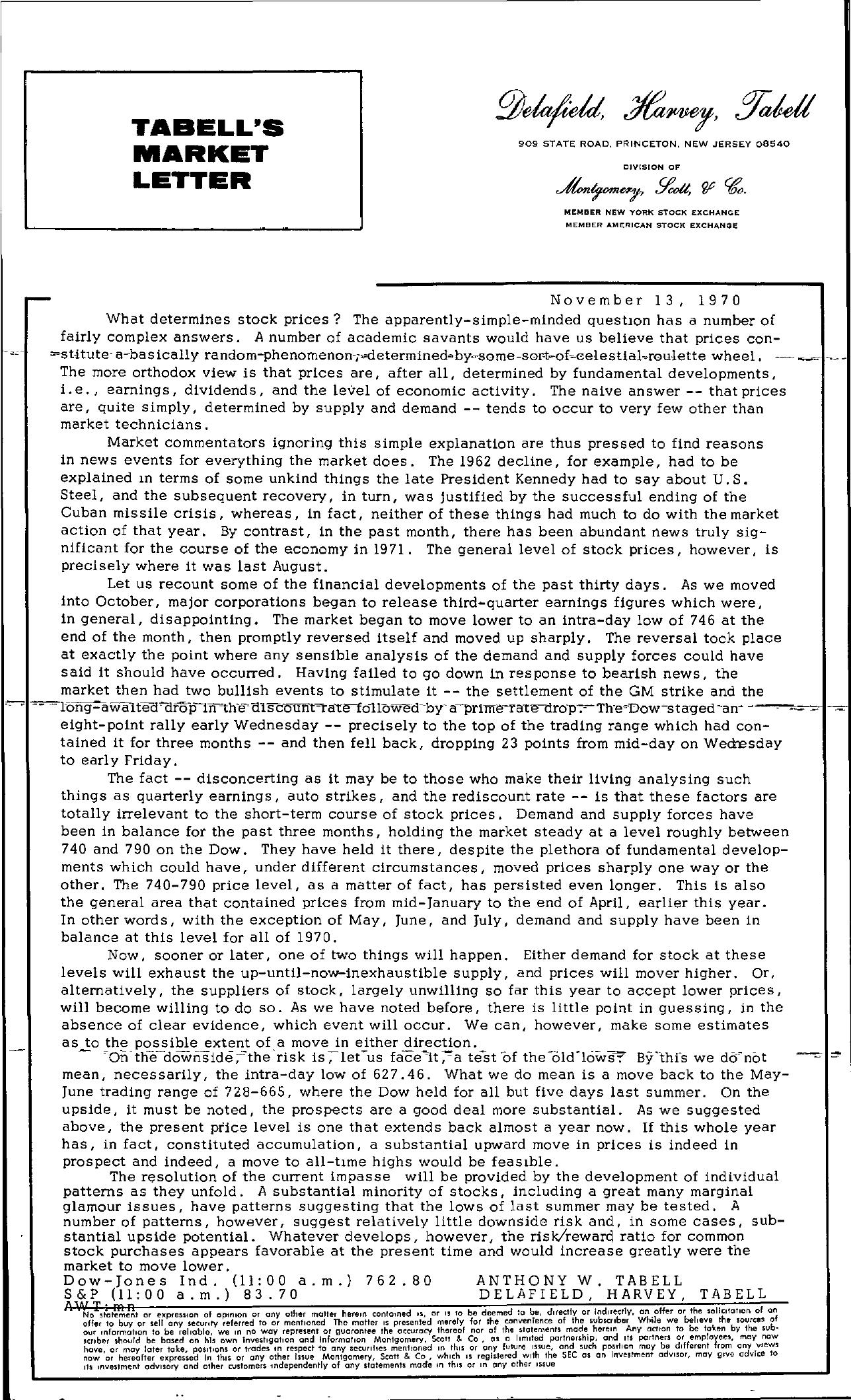 Tabell's Market Letter - November 13, 1970