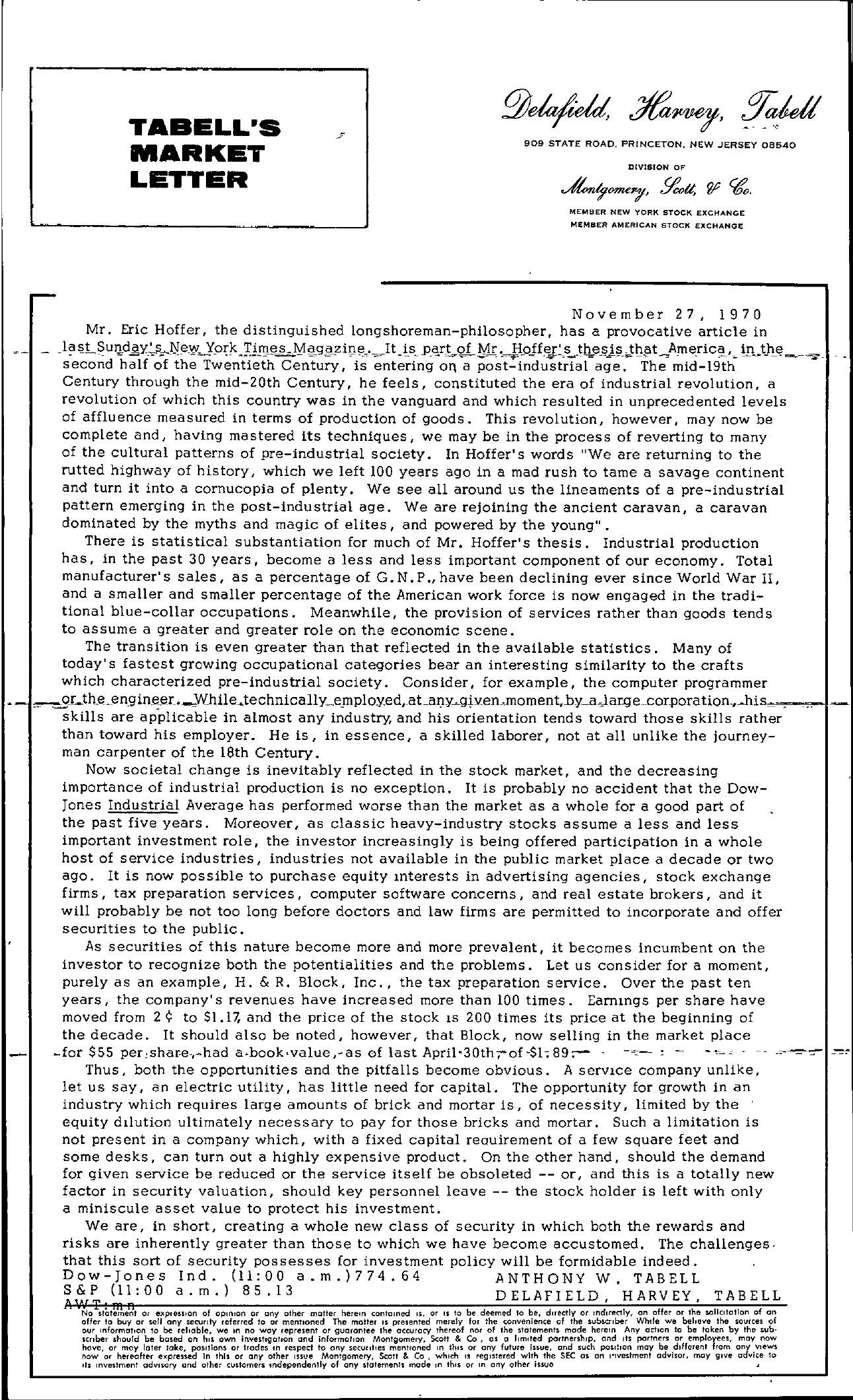 Tabell's Market Letter - November 27, 1970
