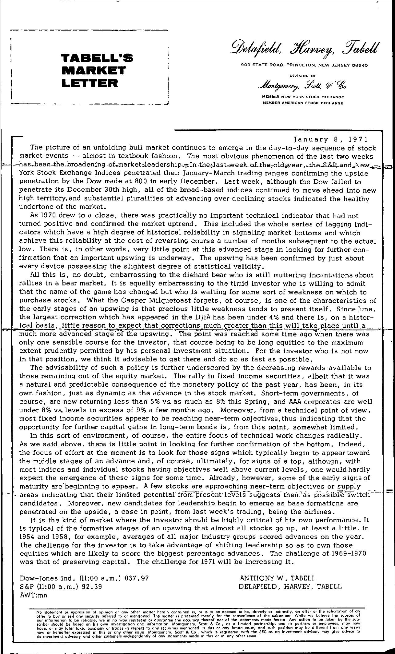Tabell's Market Letter - January 08, 1971