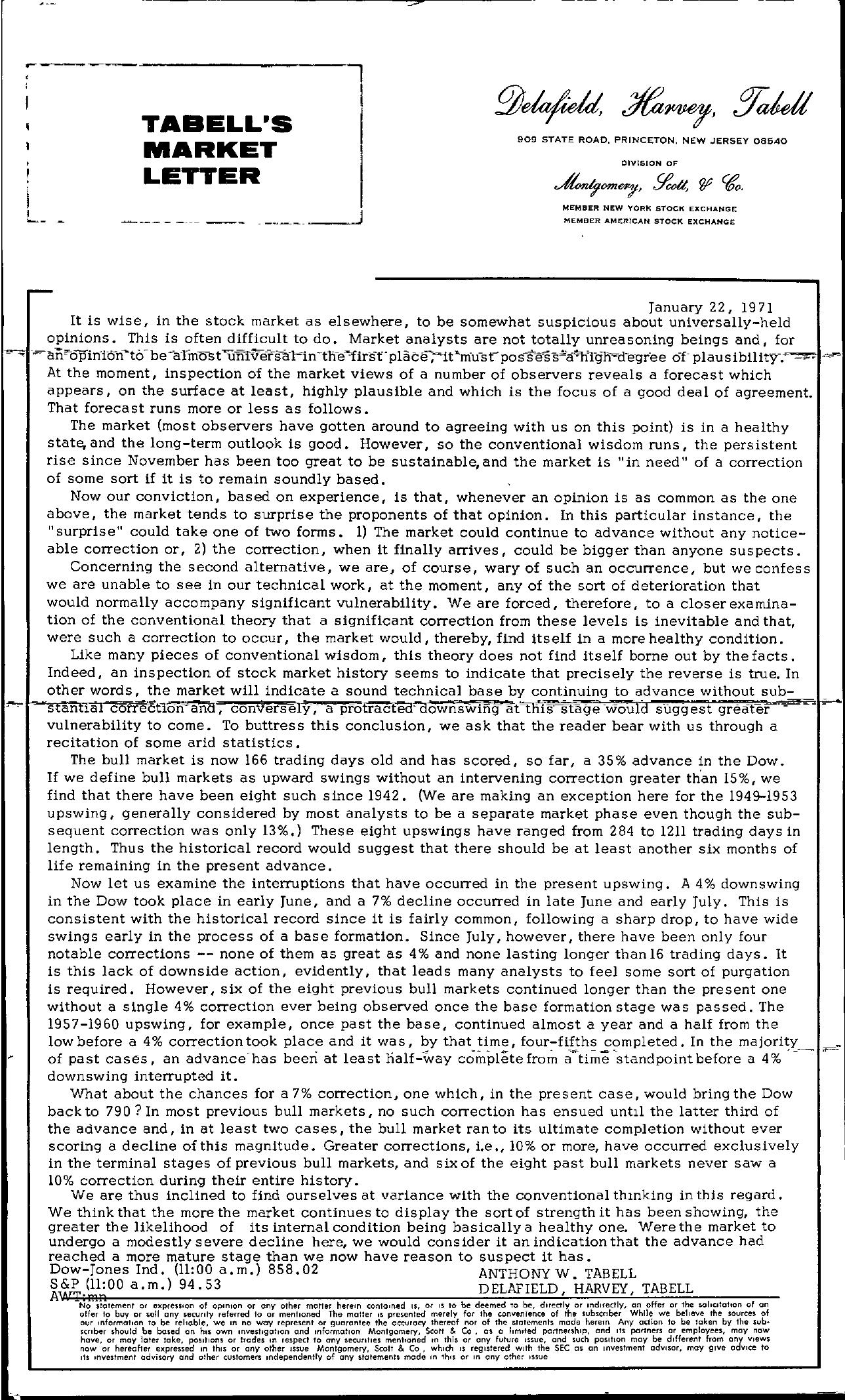 Tabell's Market Letter - January 22, 1971