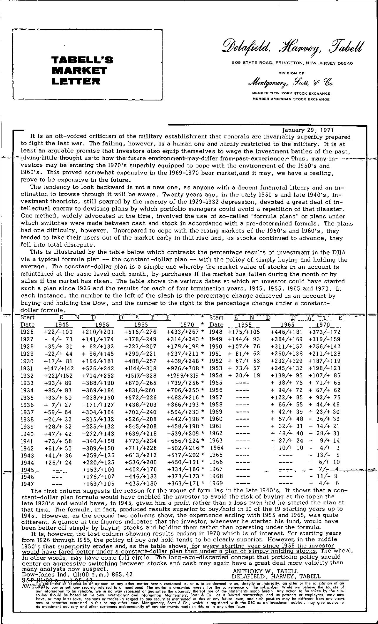 Tabell's Market Letter - January 29, 1971