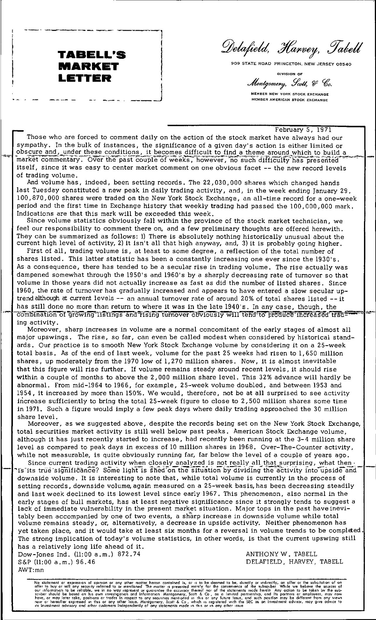 Tabell's Market Letter - February 05, 1971