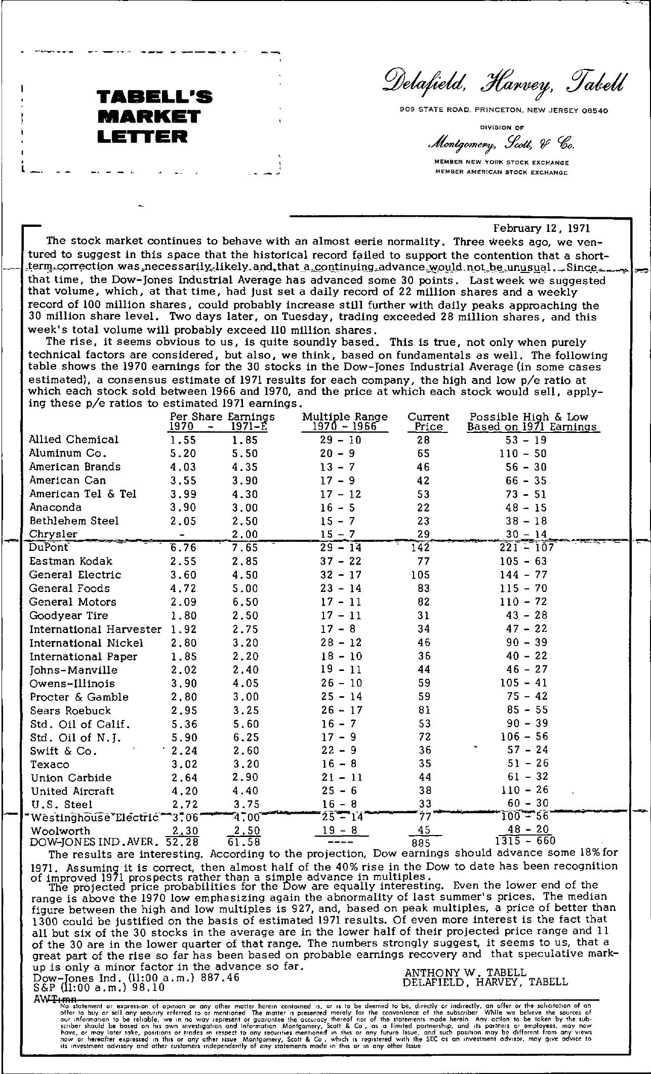Tabell's Market Letter - February 12, 1971