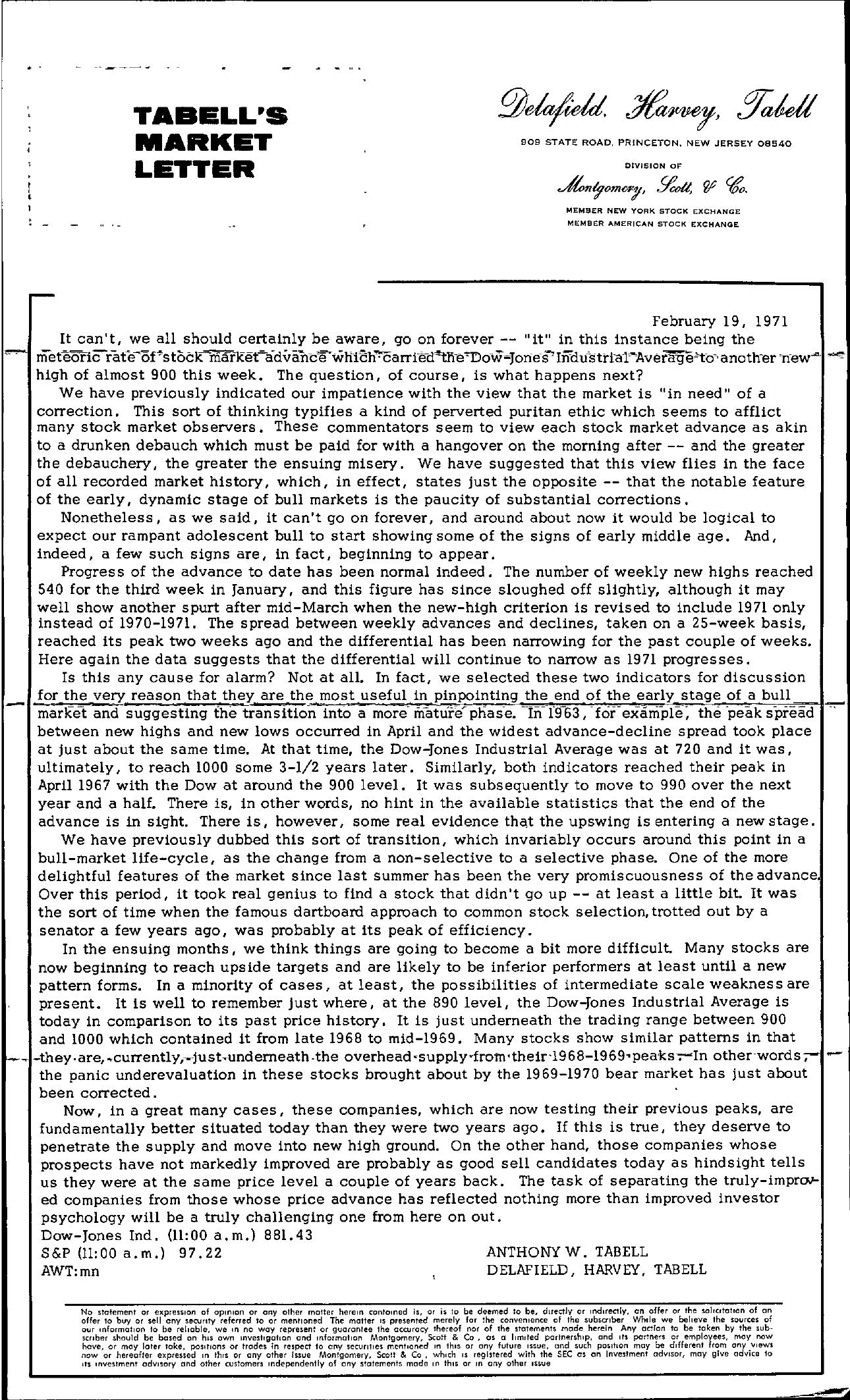 Tabell's Market Letter - February 19, 1971