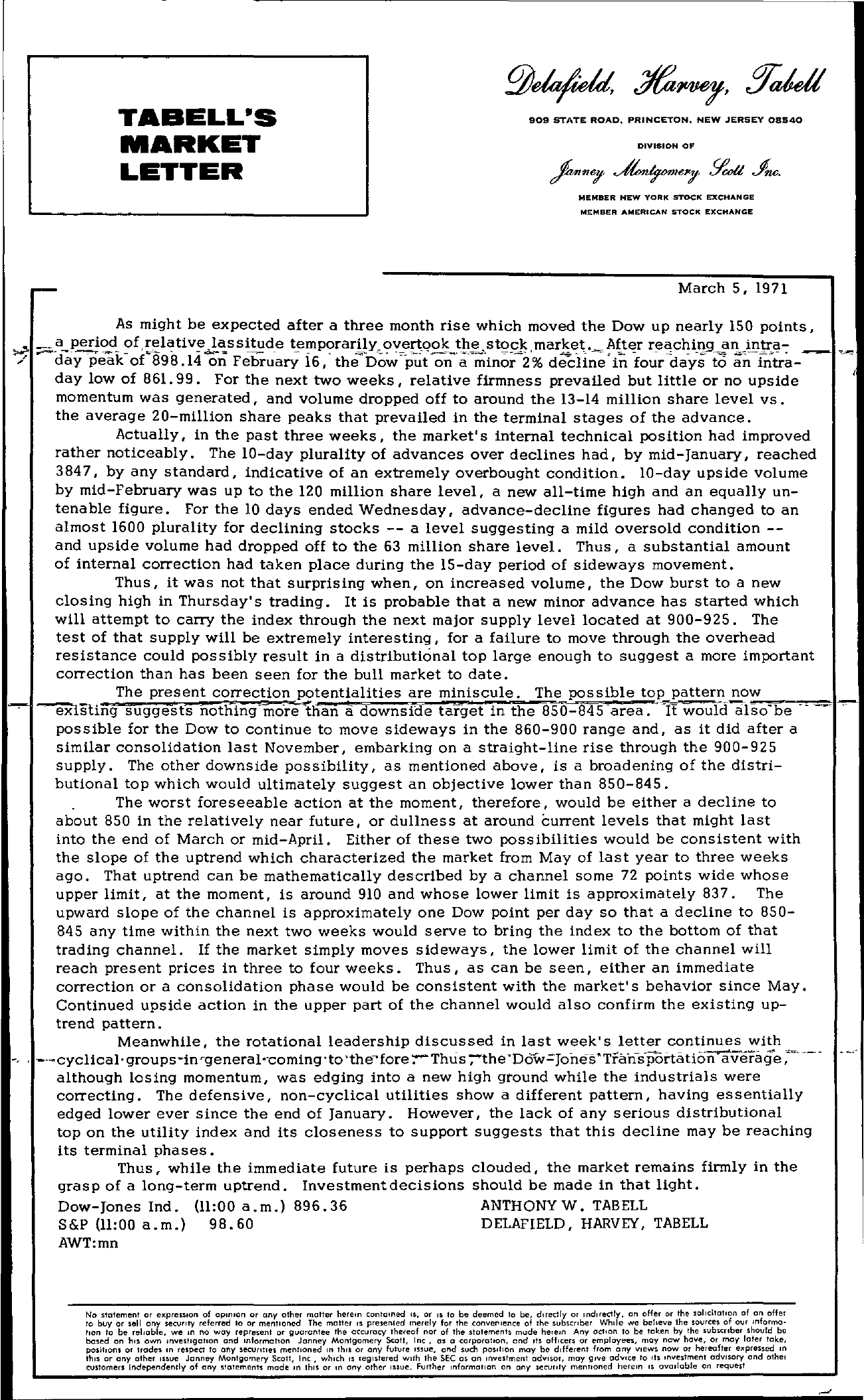 Tabell's Market Letter - March 05, 1971