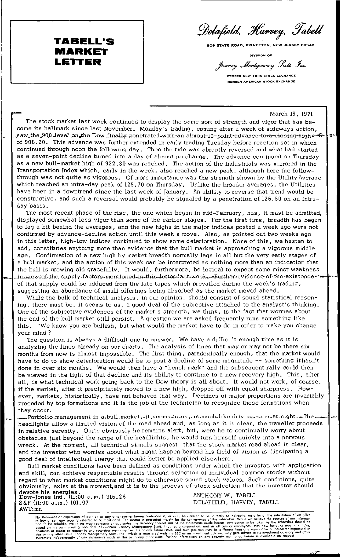 Tabell's Market Letter - March 19, 1971