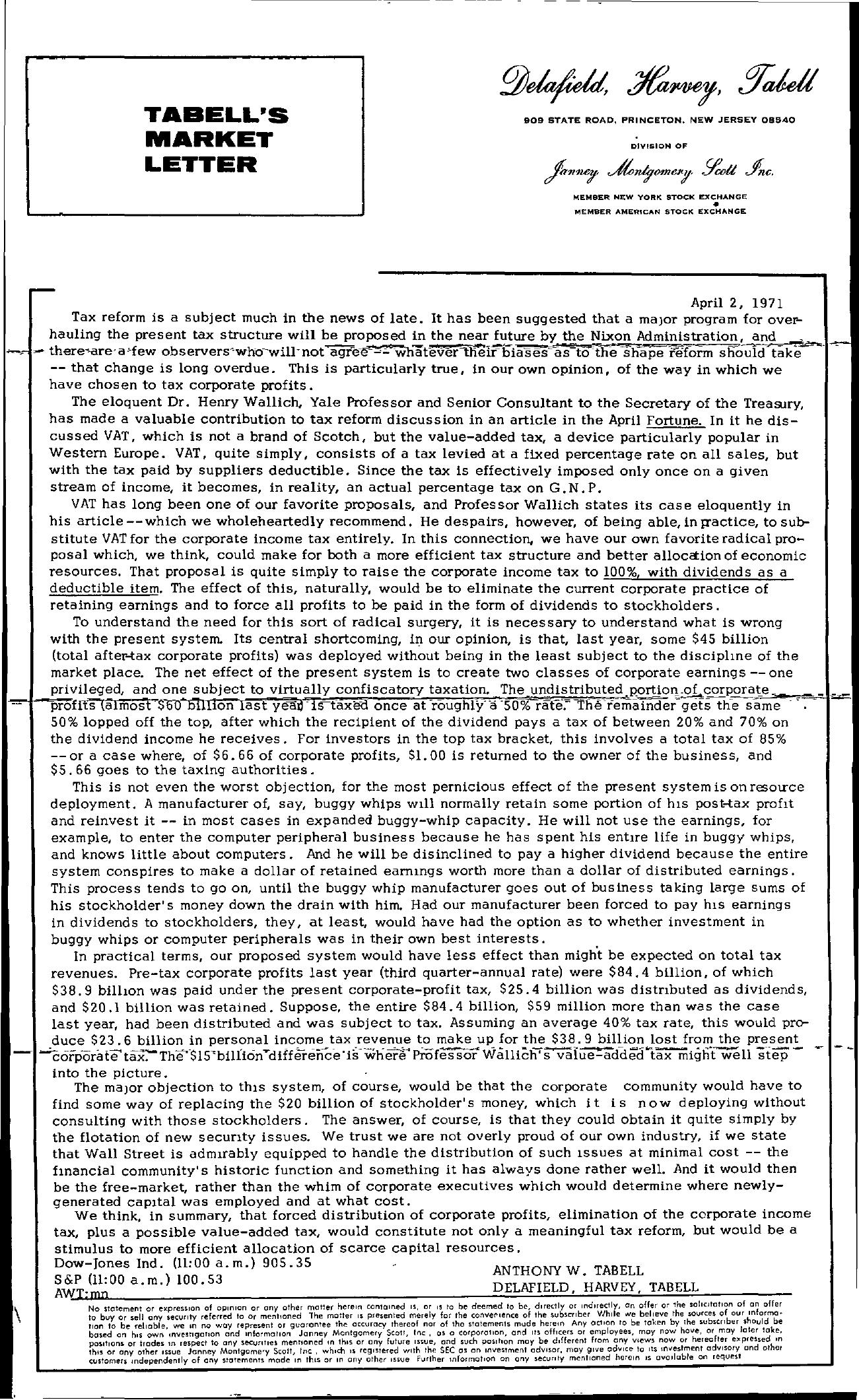 Tabell's Market Letter - April 02, 1971