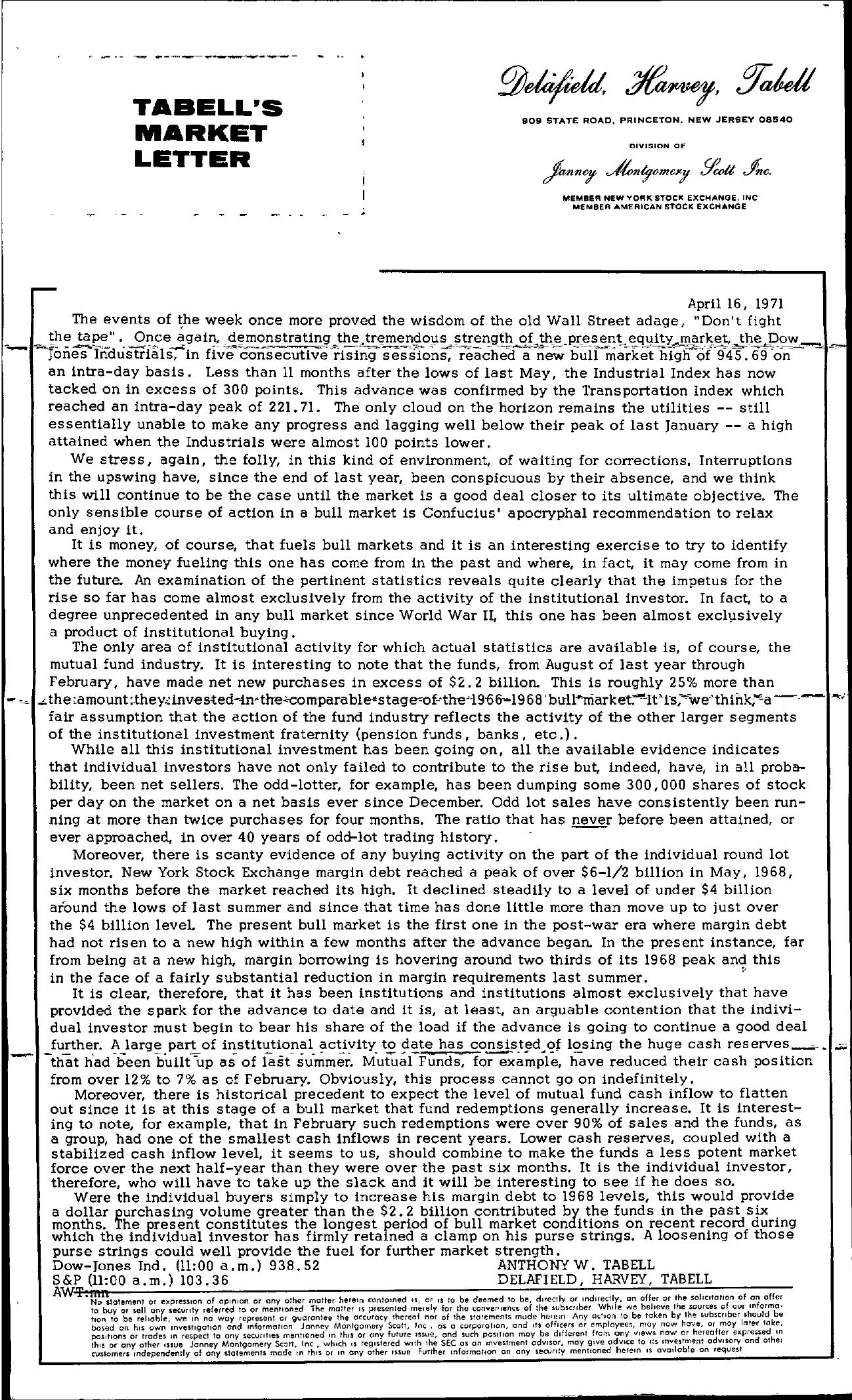 Tabell's Market Letter - April 16, 1971