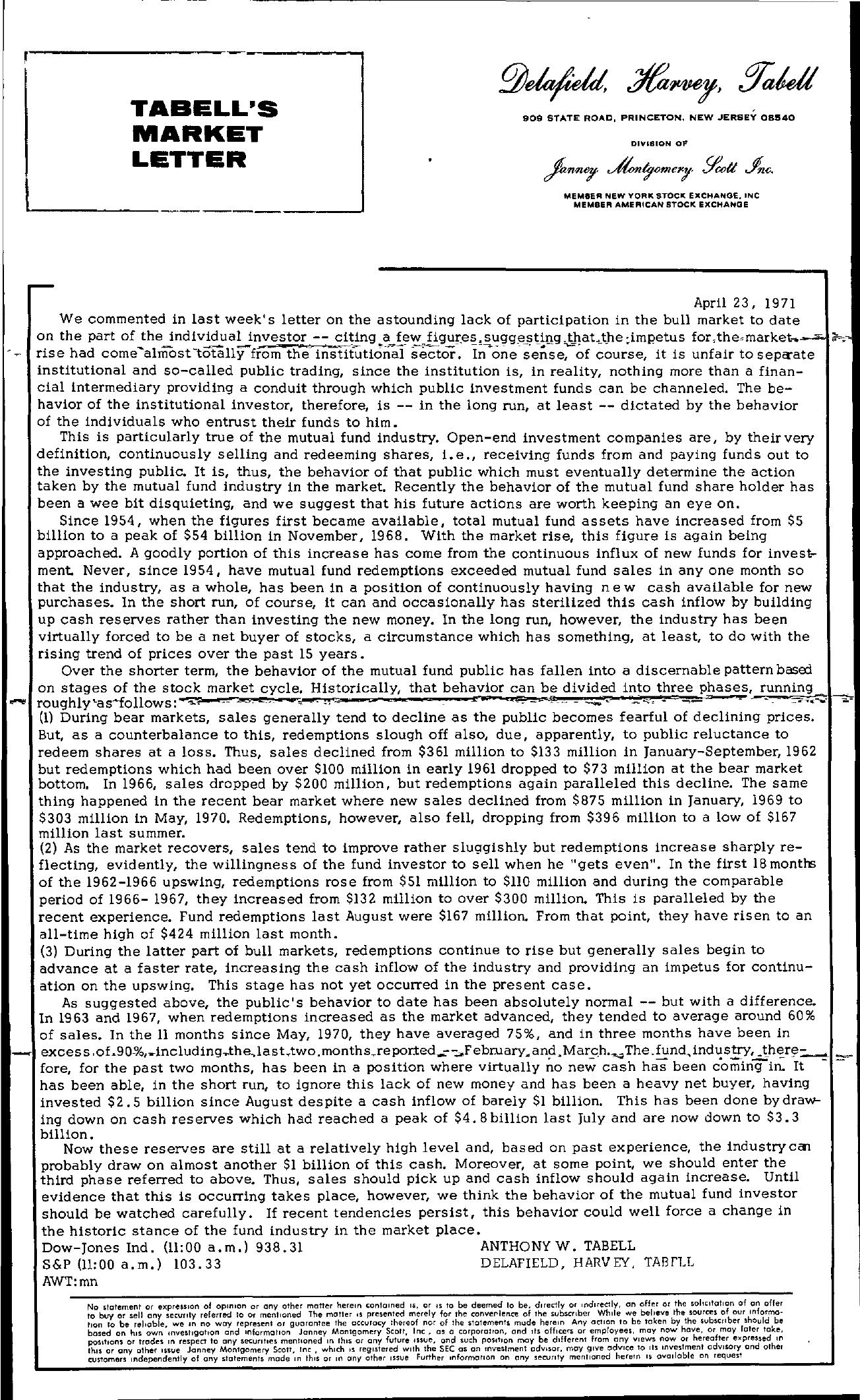 Tabell's Market Letter - April 23, 1971