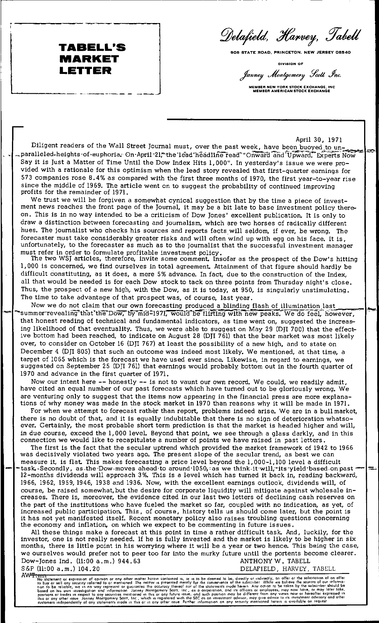 Tabell's Market Letter - April 30, 1971