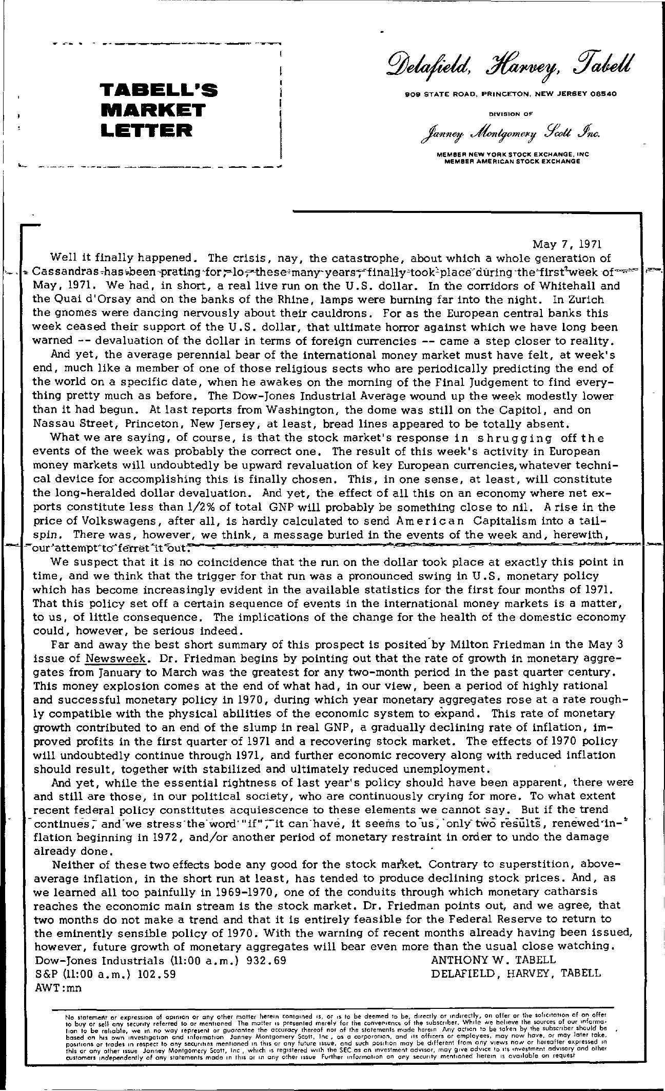 Tabell's Market Letter - May 07, 1971