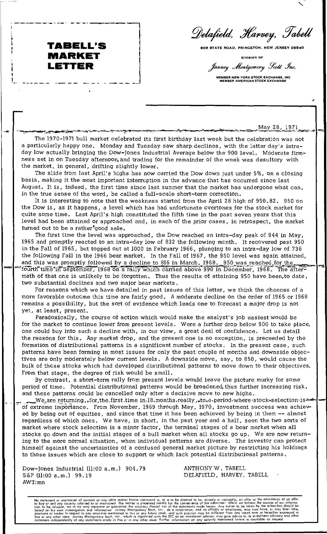Tabell's Market Letter - May 28, 1971