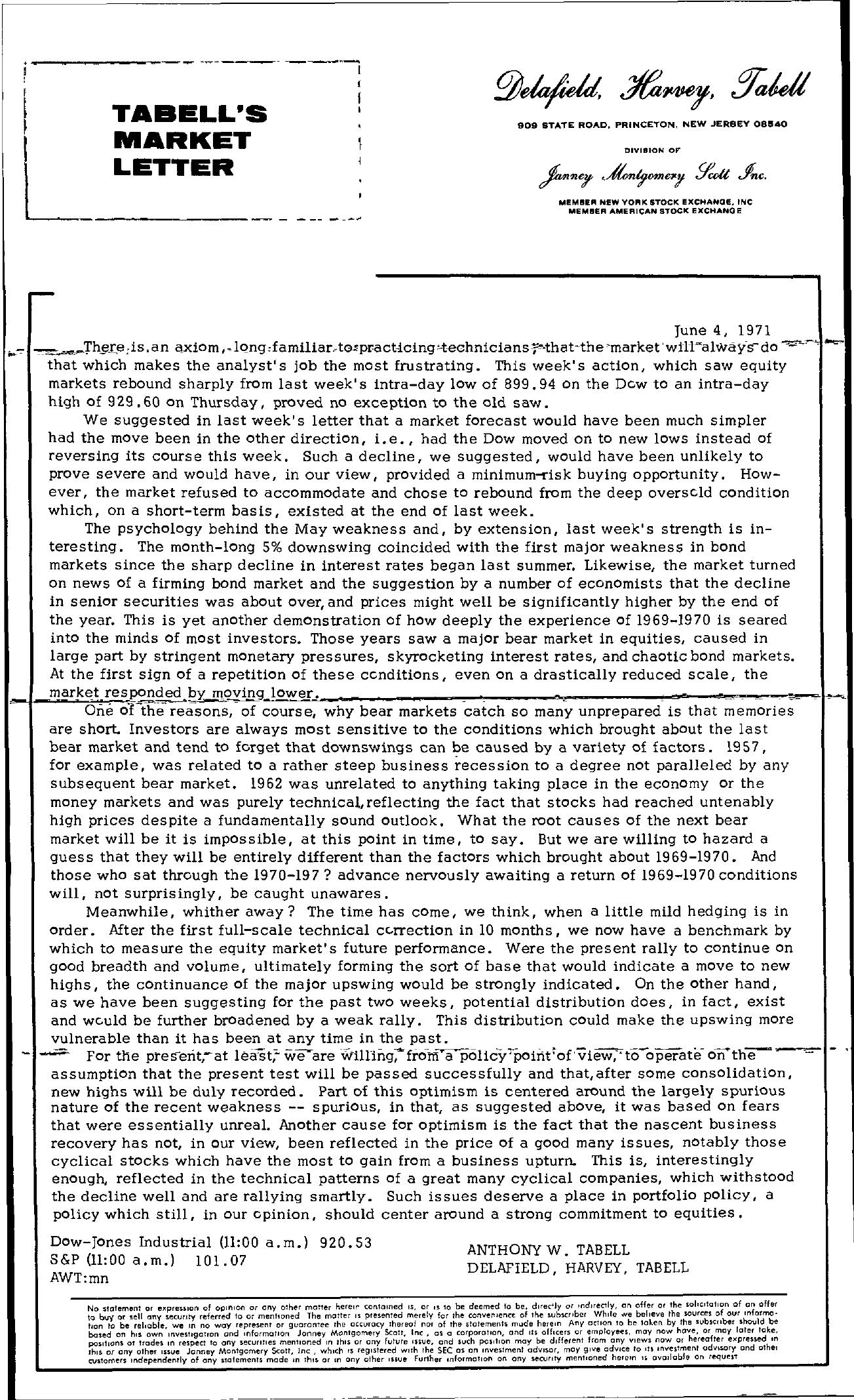 Tabell's Market Letter - June 04, 1971